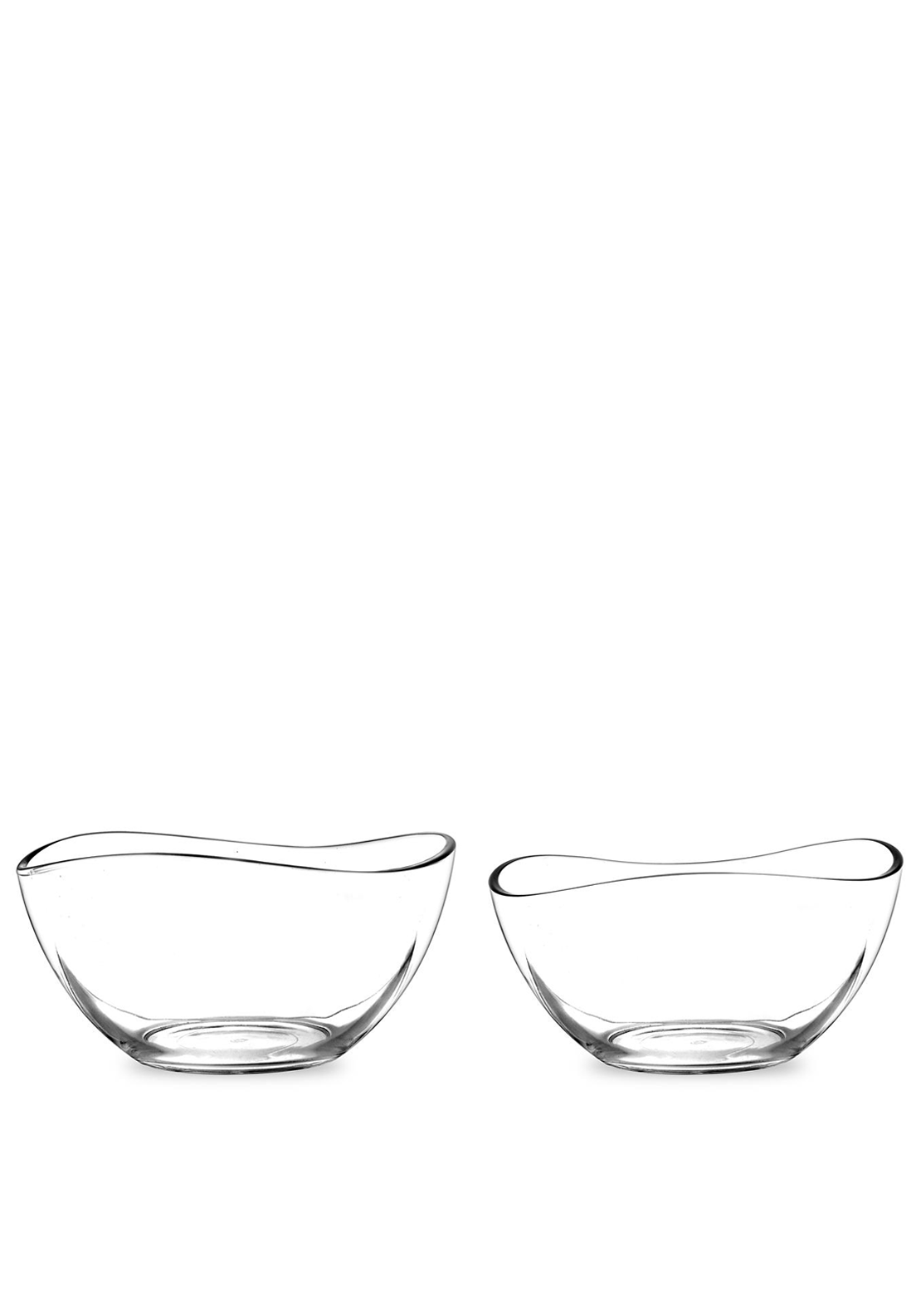 Portmeirion Set of Two Large Glass Bowls, Clear Glass