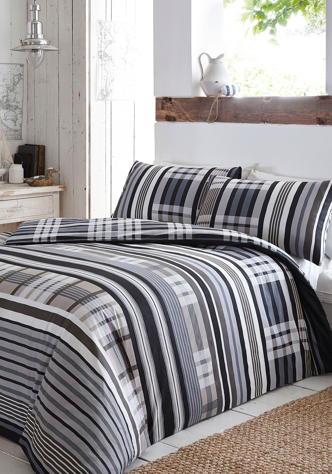Portfolio Rhode Island Checked Duvet Cover Set, Charcoal