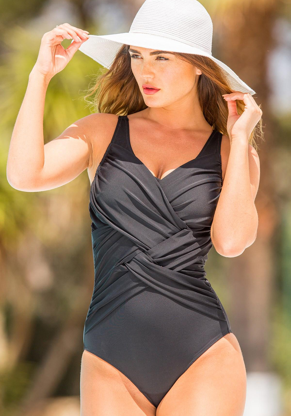 Pour Moi? Ruched V Neck Swimsuit, Black