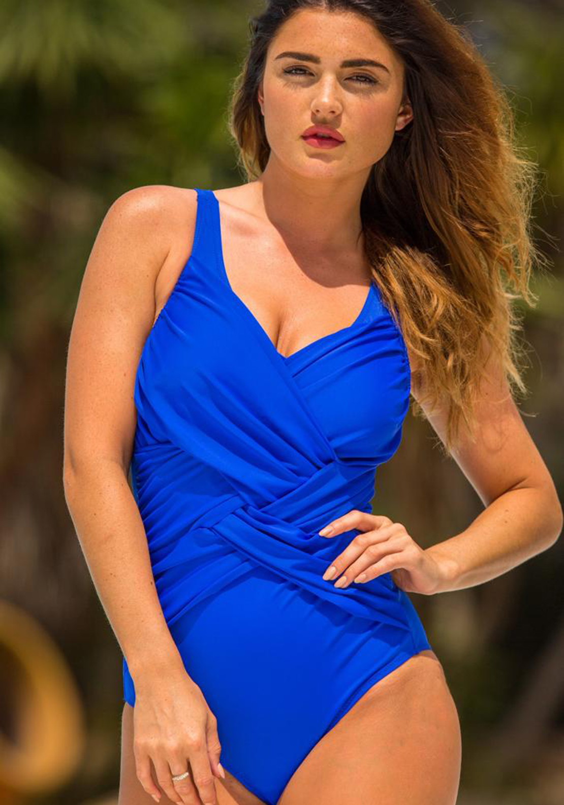 Pour Moi? Ruched V Neck Swimsuit, Blue