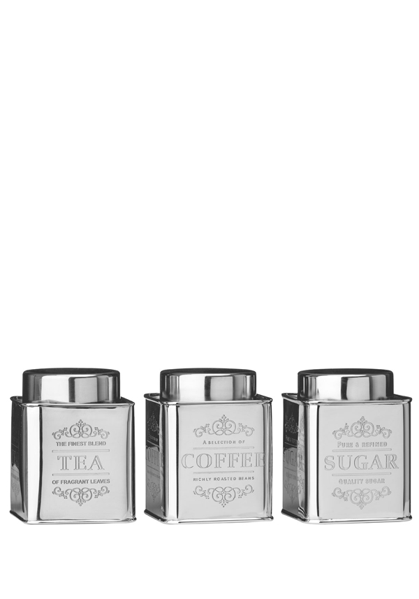 Chai Stainless Steel Tea, Coffee and Sugar Canisters