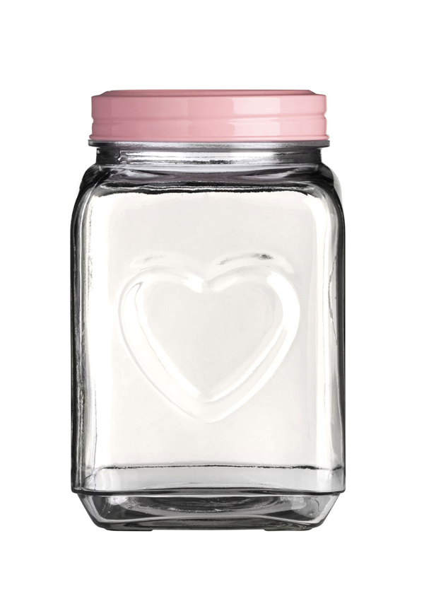 The Sweetheart Collection Glass Storage Jar with Embossed Hearts & pink Lid, 2200ml