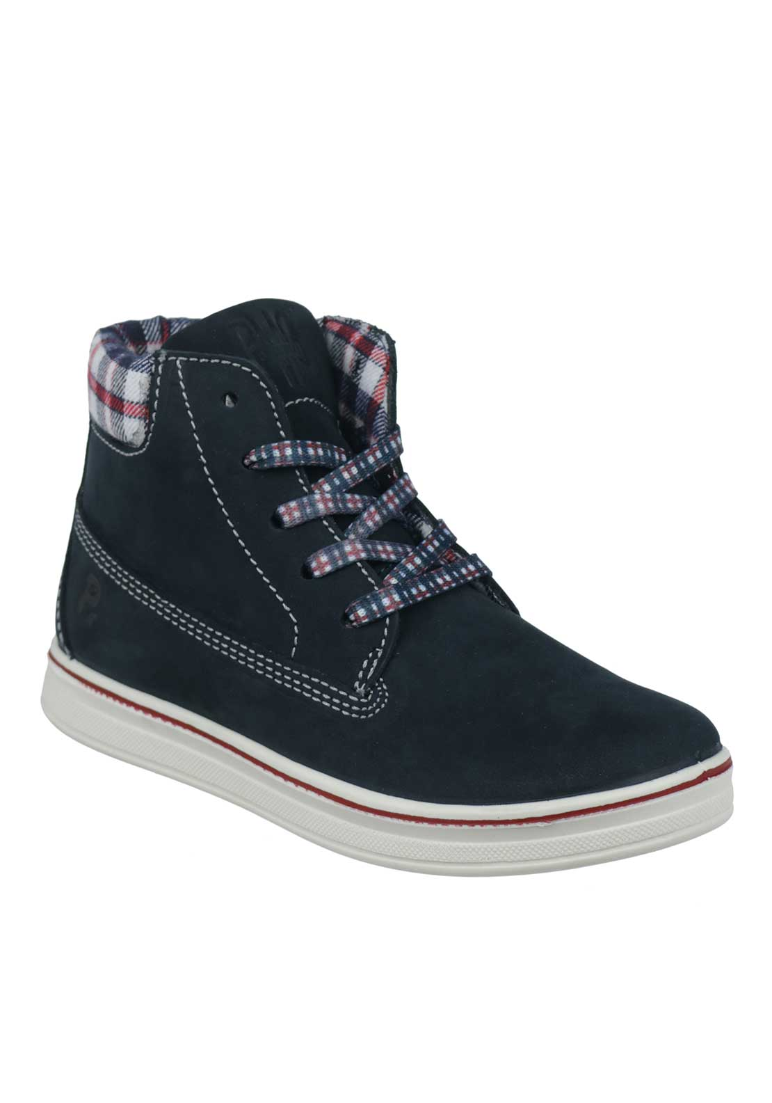 Primigi Boys Suede Chequered Laced Boots, Navy