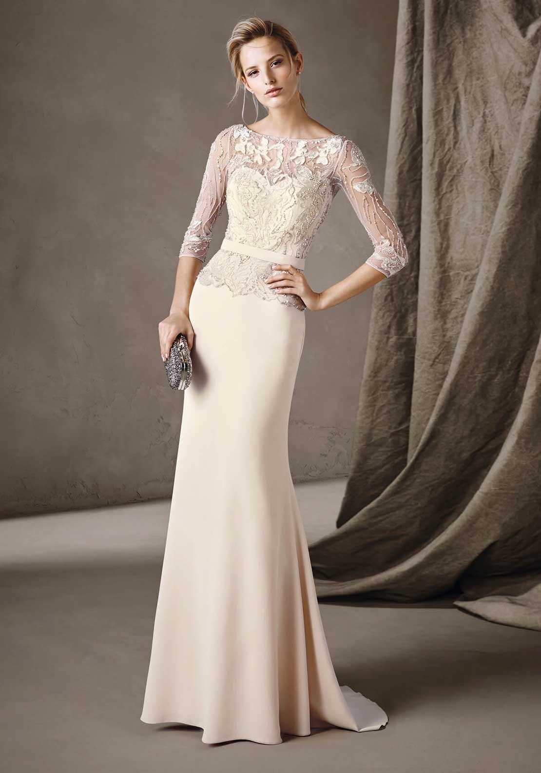 Pronovias Cocktail Carmina Embroidered Dress, Pale Nude