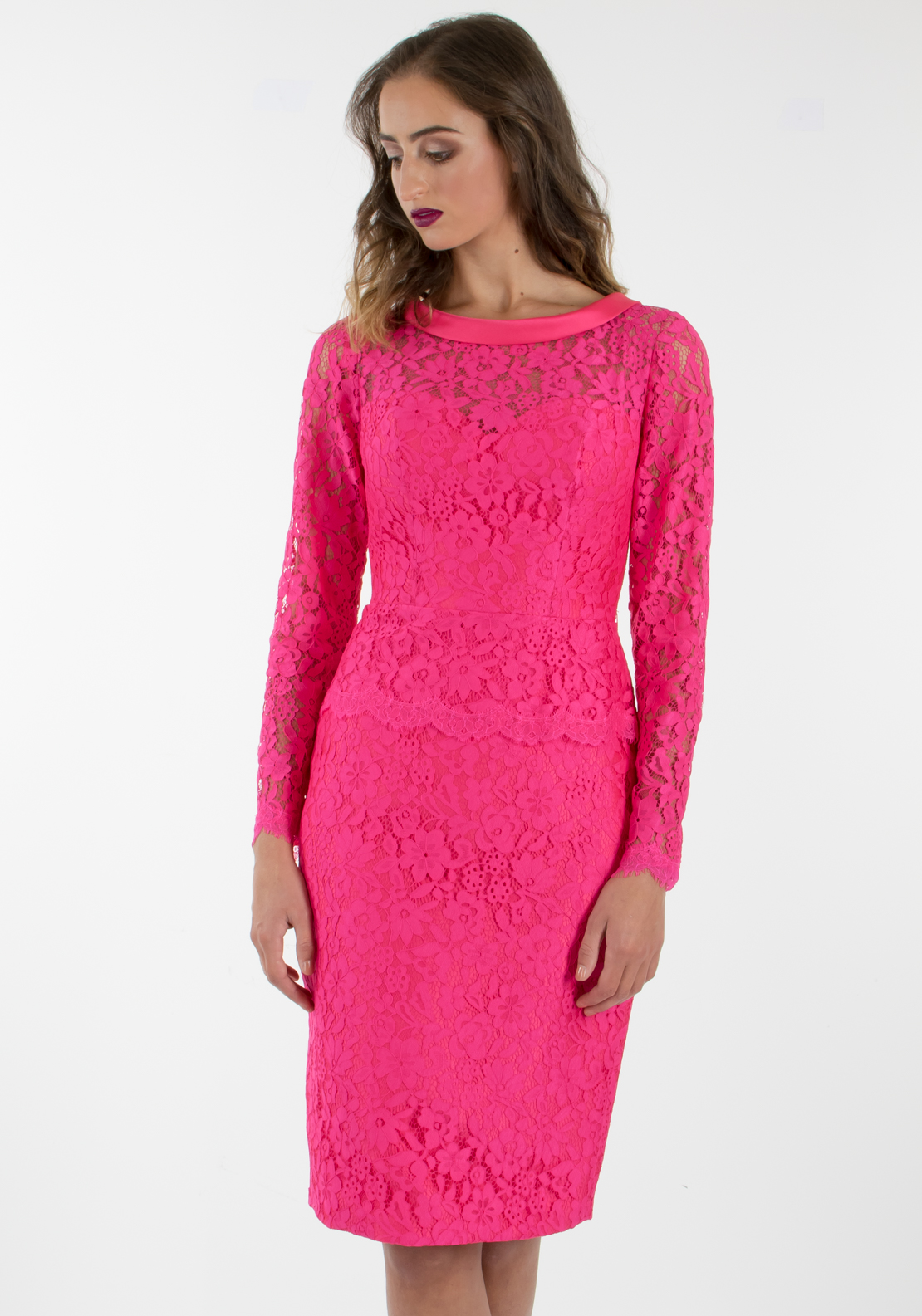 Pronovias Cocktail Capel Lace Pencil Dress, Hot Pink
