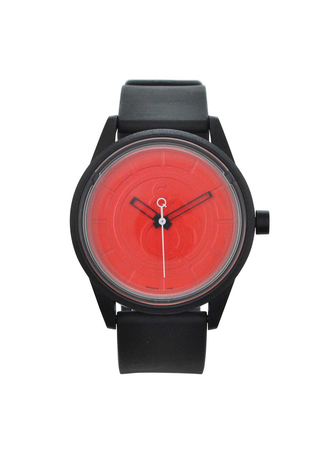 Q & Q Smile Solar Powered Unisex Watch, Black and Red