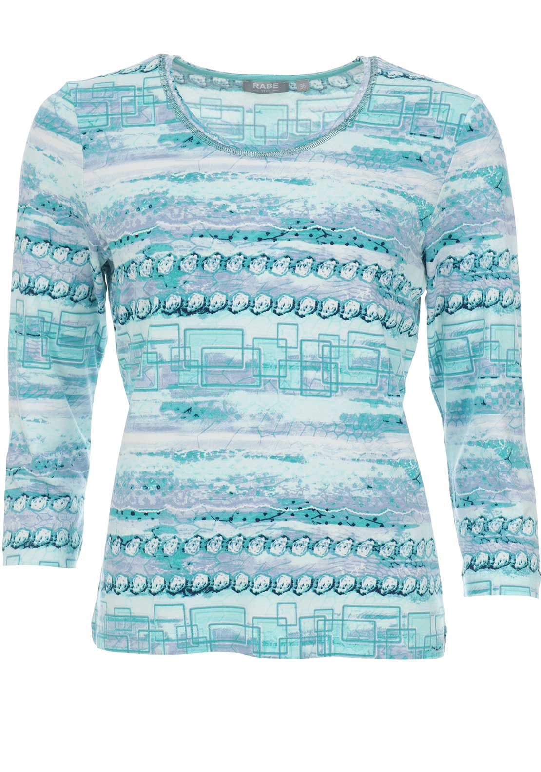 Rabe Printed Cropped Sleeve Top, Aqua