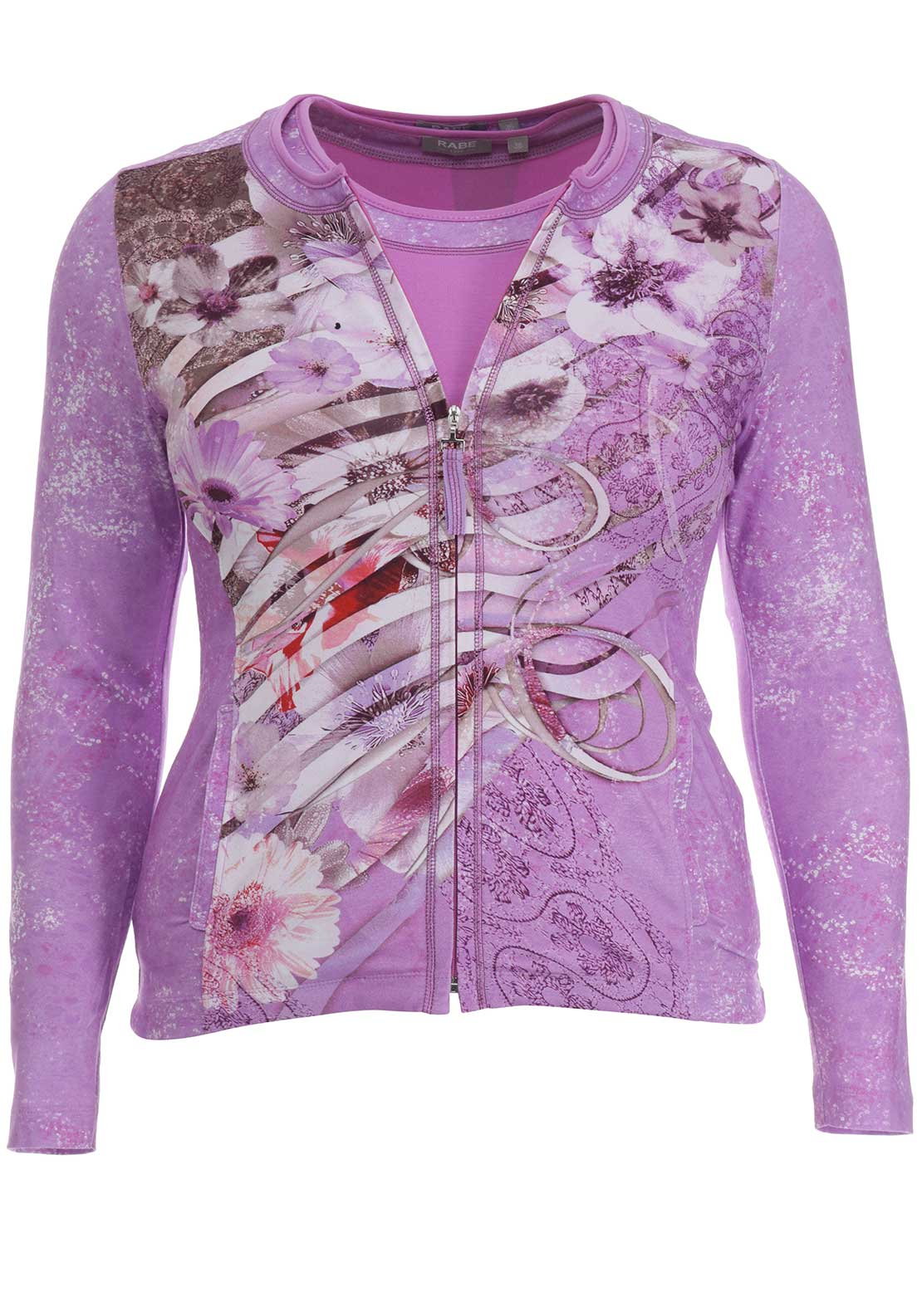 Rabe Floral Print Jersey Twinset, Purple