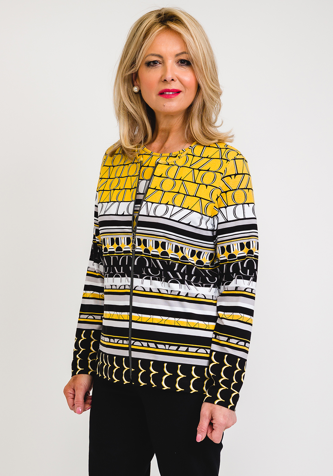 Rabe Letter Design Jersey Twinset, Yellow & Black