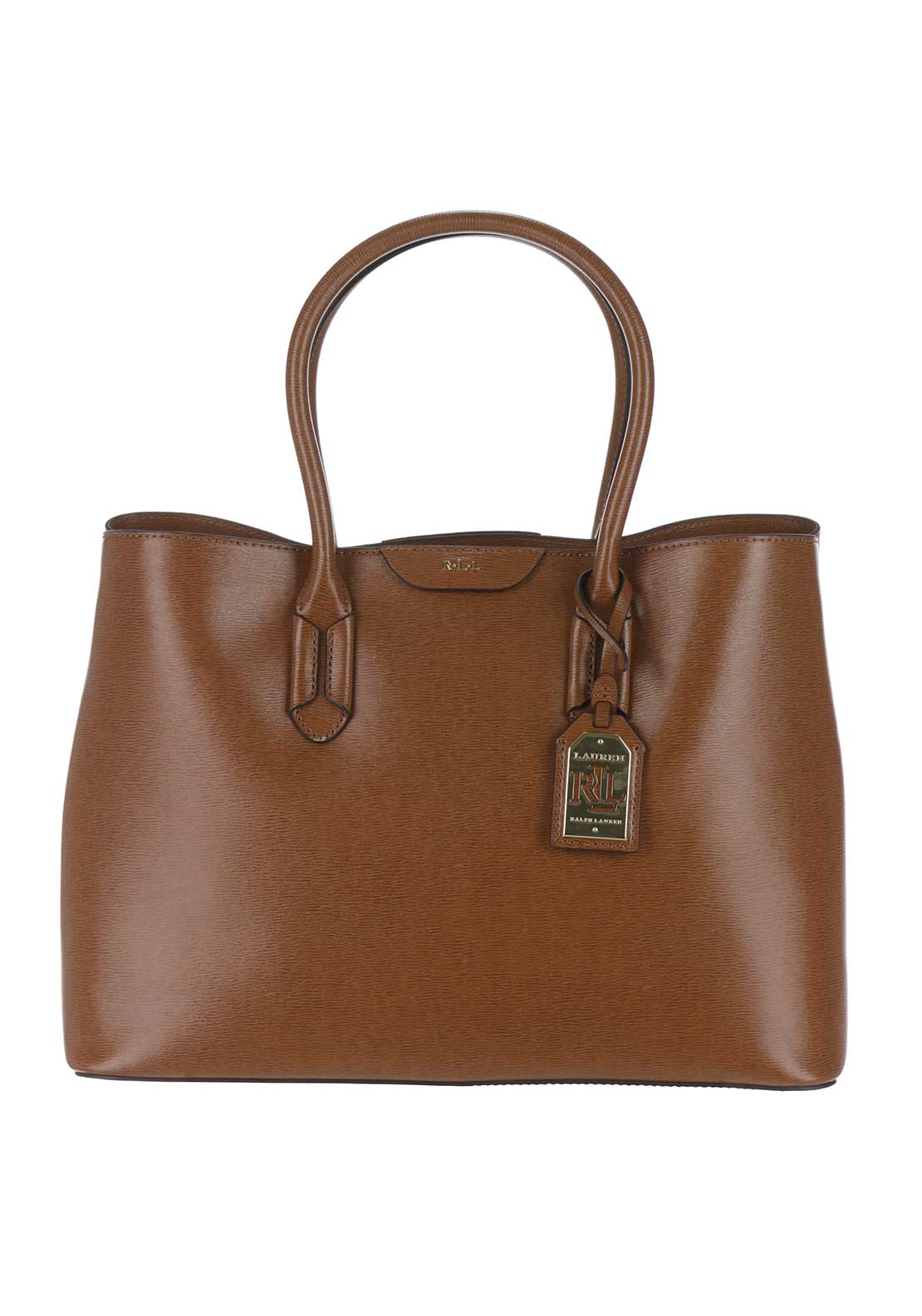 Lauren Ralph Lauren Leather City Tote Bag, Tan/Cocoa