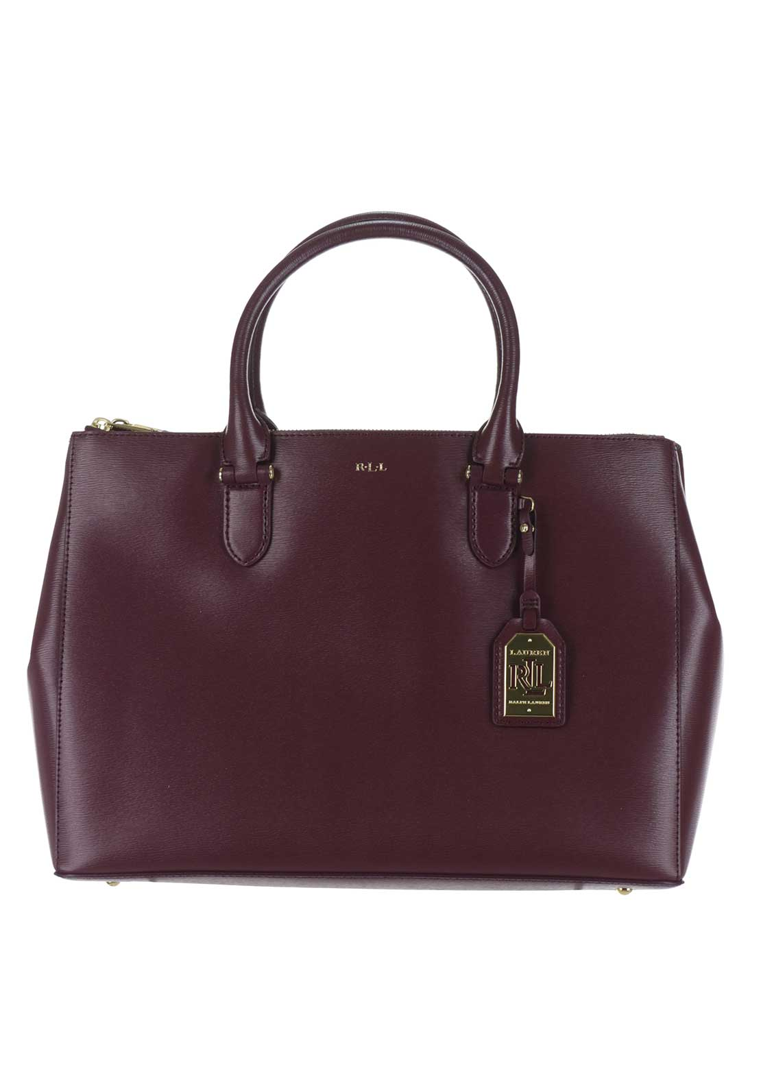 Lauren Ralph Lauren Leather DB Zip Satchel Bag, Claret