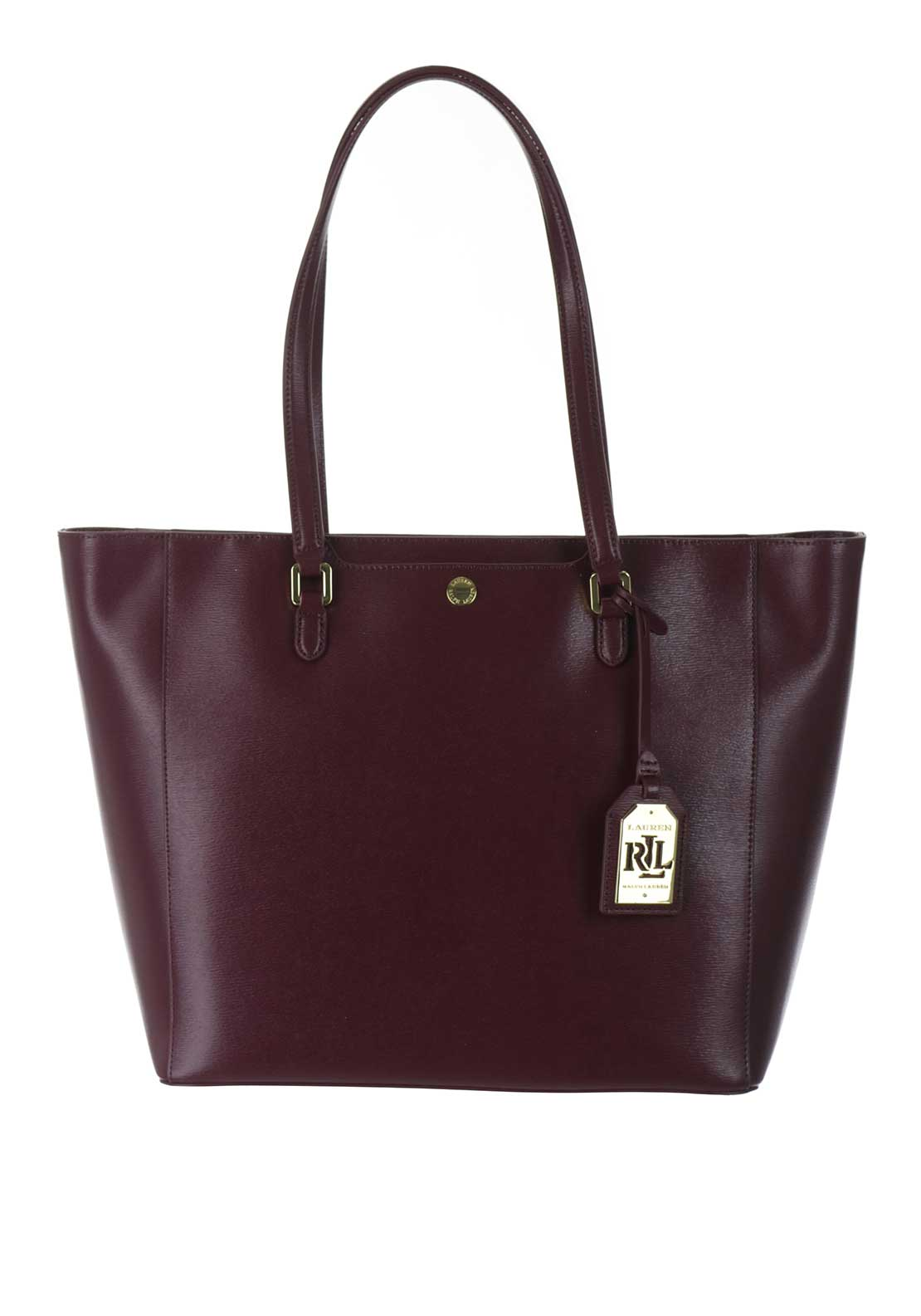 Lauren Ralph Lauren Leather Newbury Halee Tote Bag, Claret