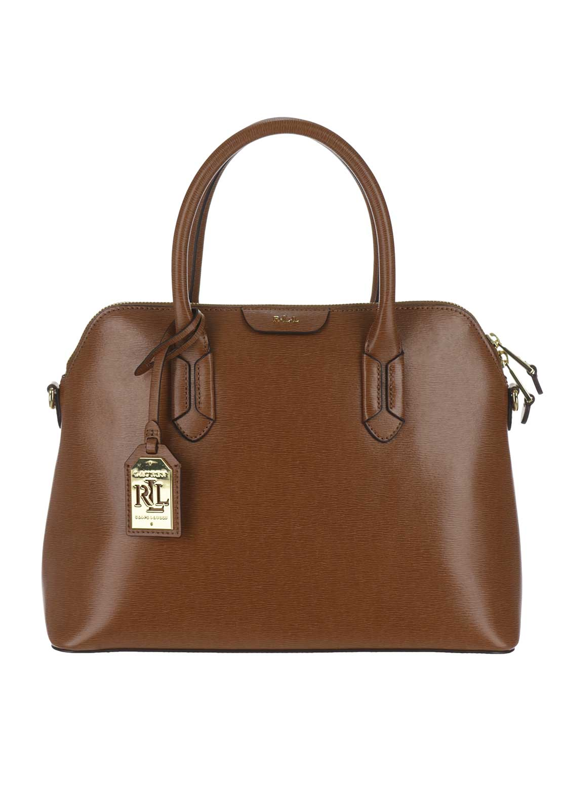 Ralph Lauren Tate Leather Dome Tote Bag, Tan