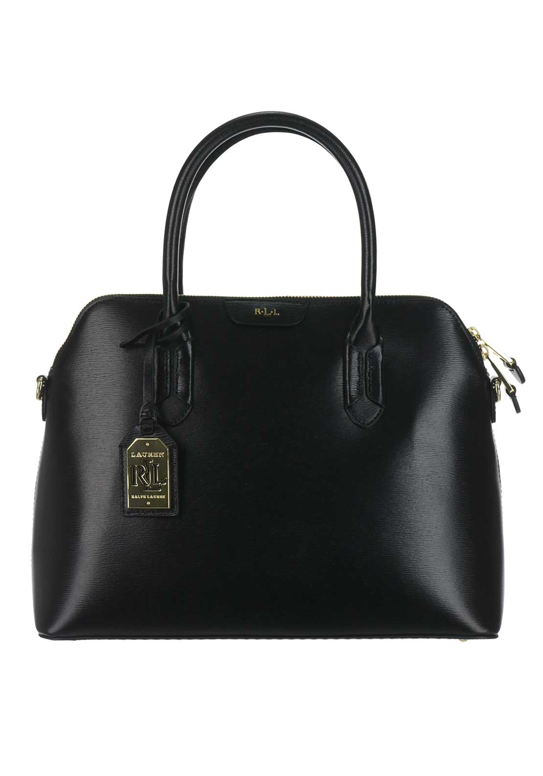 Ralph Lauren Tate Leather Dome Tote Bag, Black