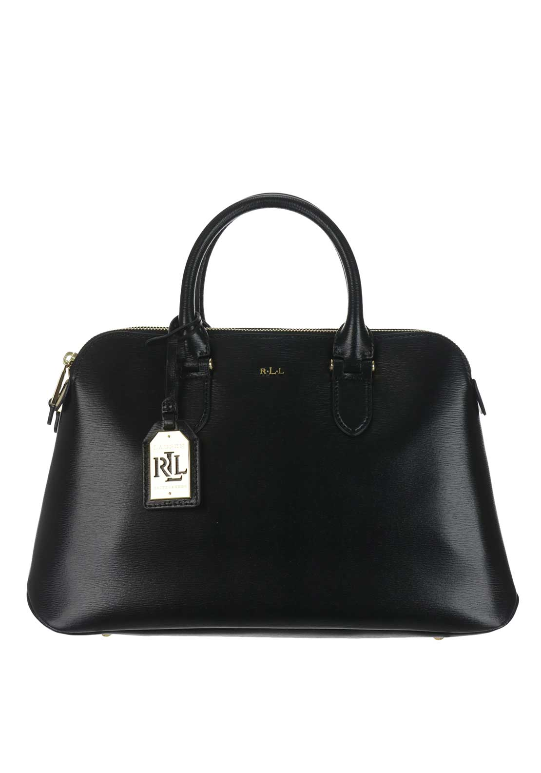 Ralph Lauren Newbury Leather Zip Dome Tote Bag, Black