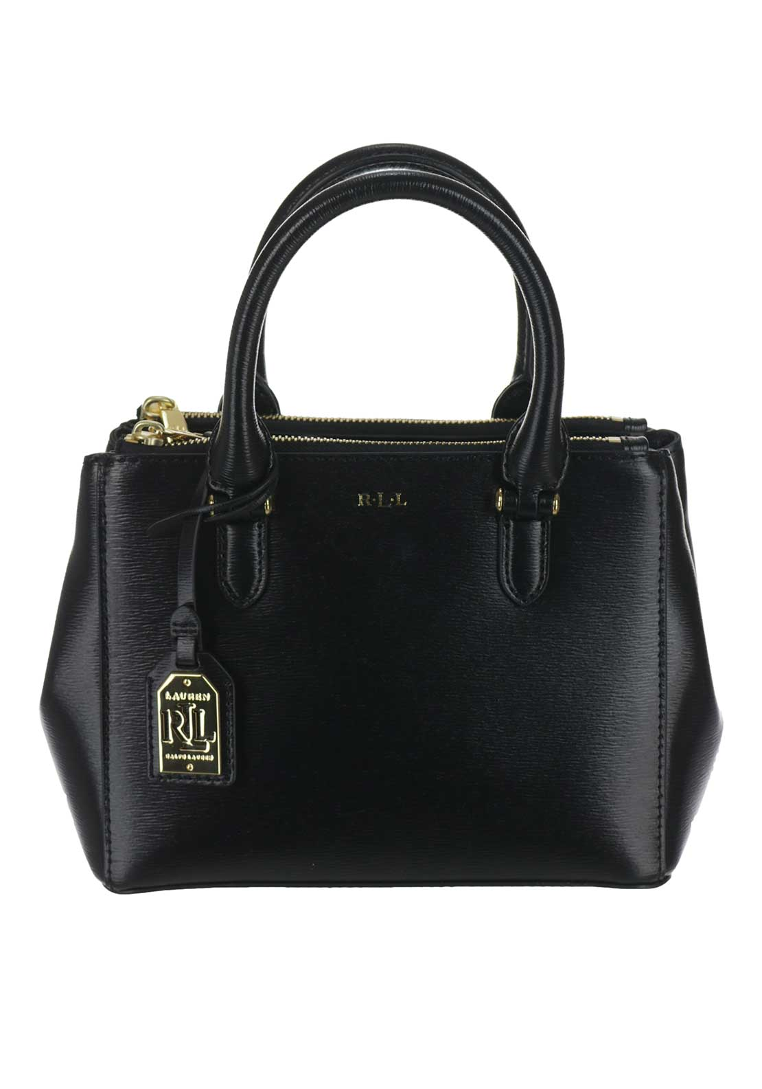 Ralph Lauren Newbury Leather Zip Mini Tote Bag, Black