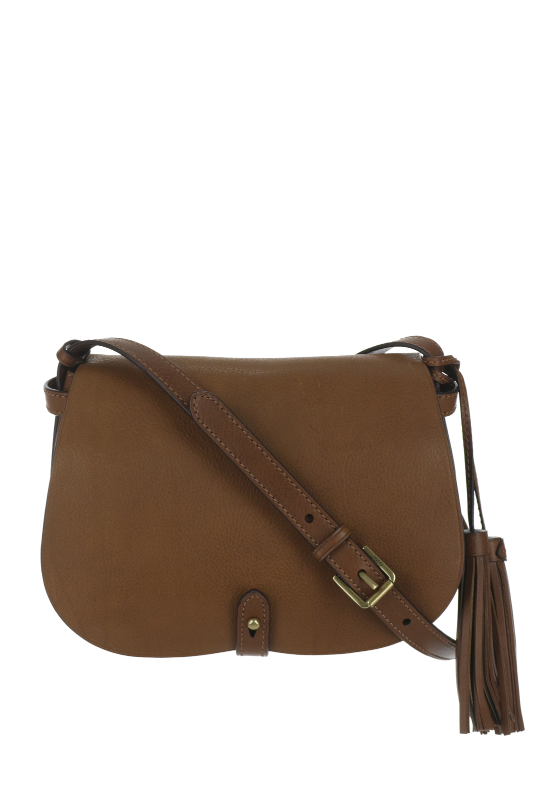Ralph Lauren Polo Leather Saddle Crossbody Bag, Tan
