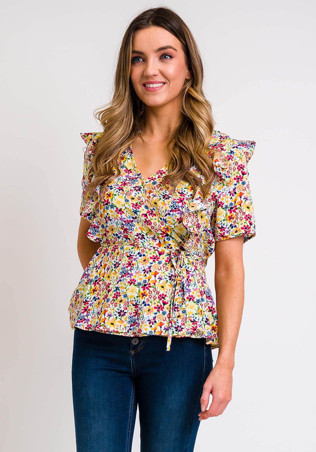 Rant & Rave Rhea Floral Wrap Top, Yellow