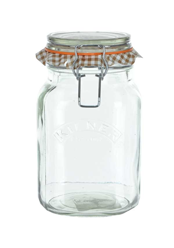 Kilner Square 1.5ltr Clip Top Glass Storage Jar