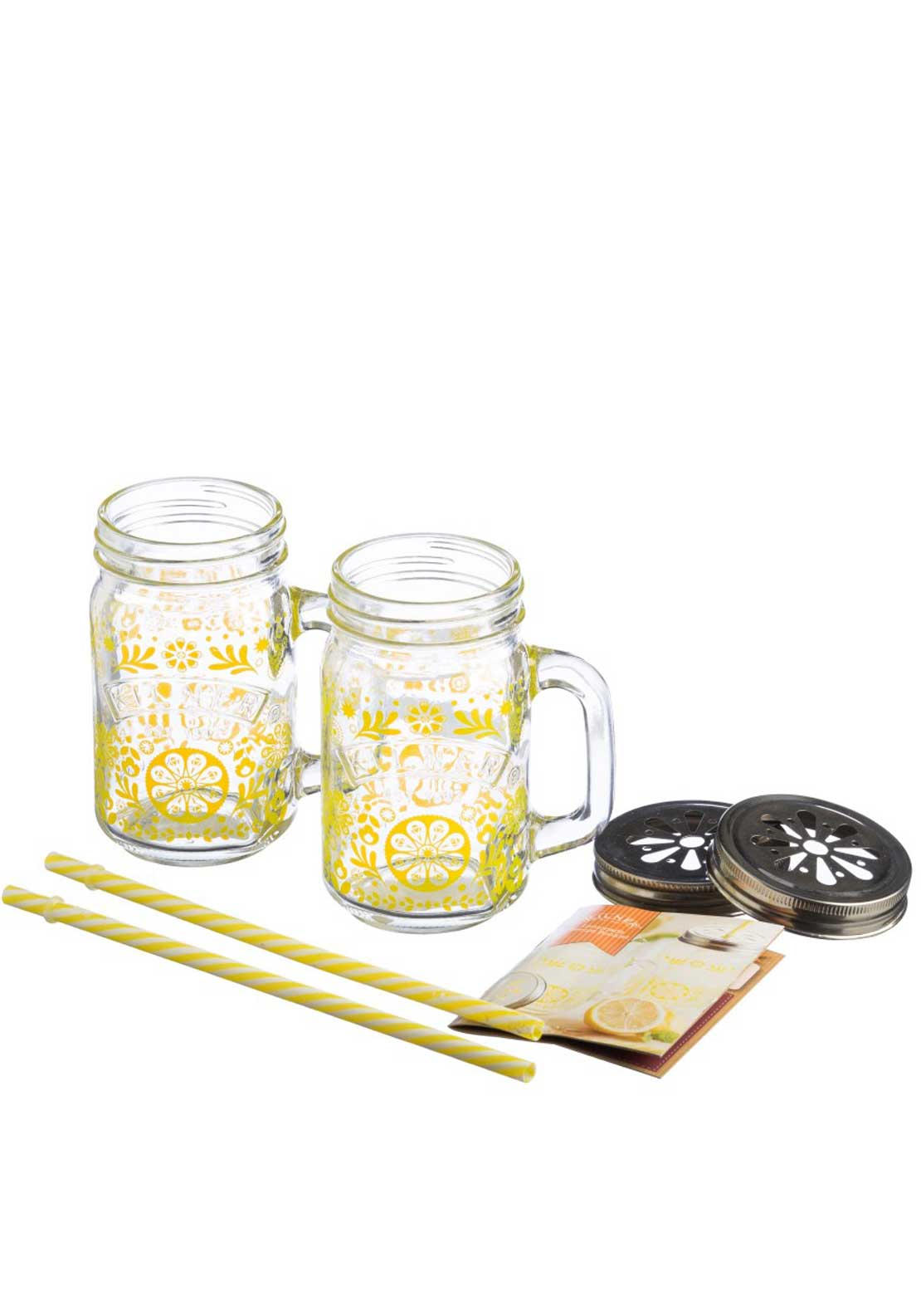 Kilner 7 Piece Lemonade Mug, Straw & Lid Set
