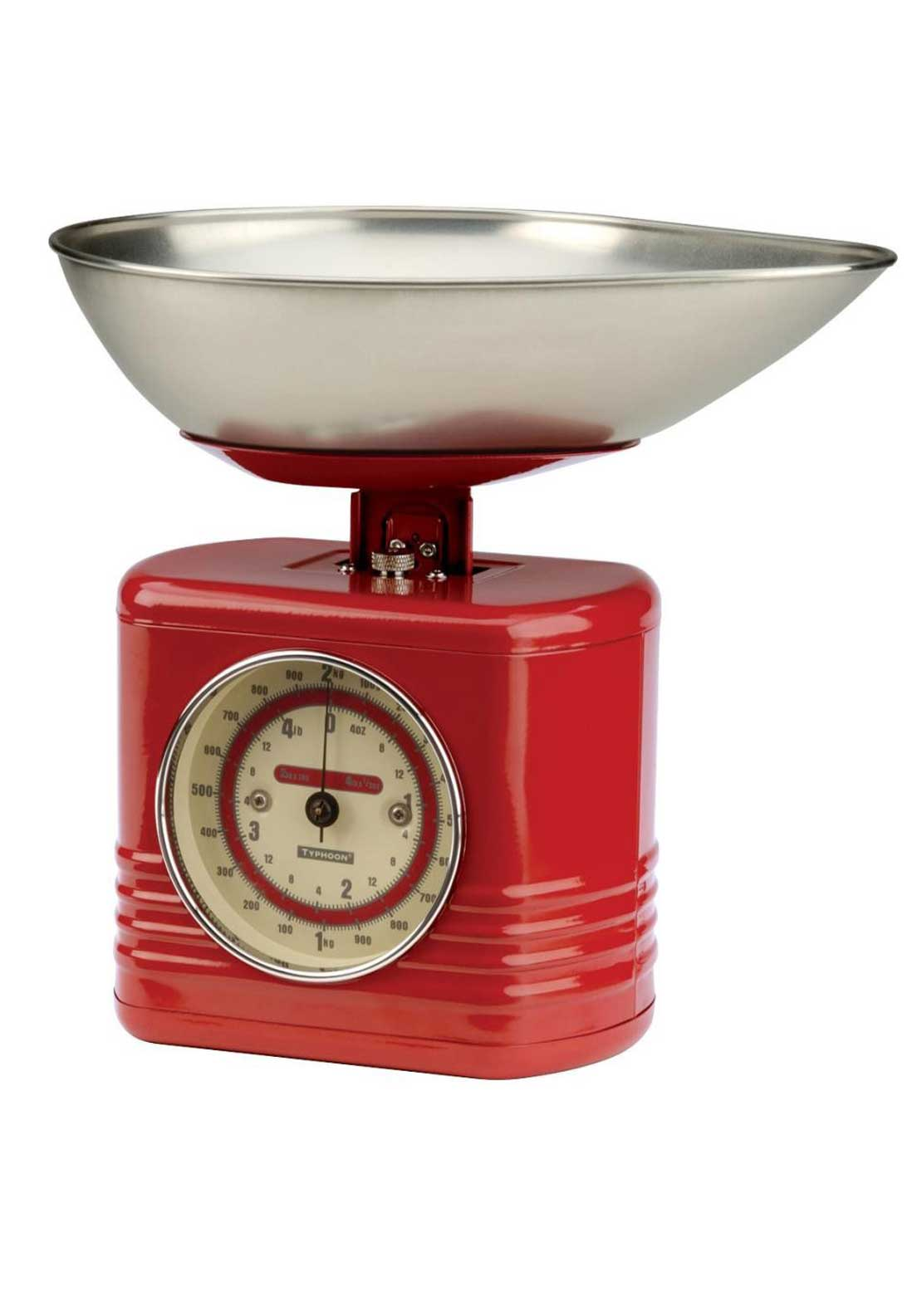 Typhoon 2kg Vintage Kitchen Scales, Red