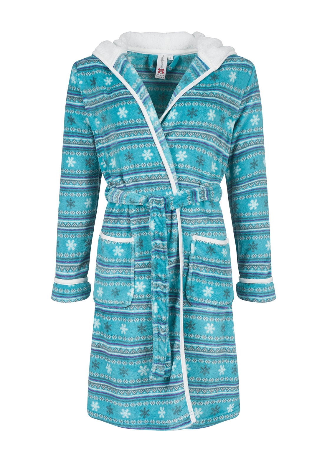 Rebelle Snowflake Print Fleece Dressing Gown, Green