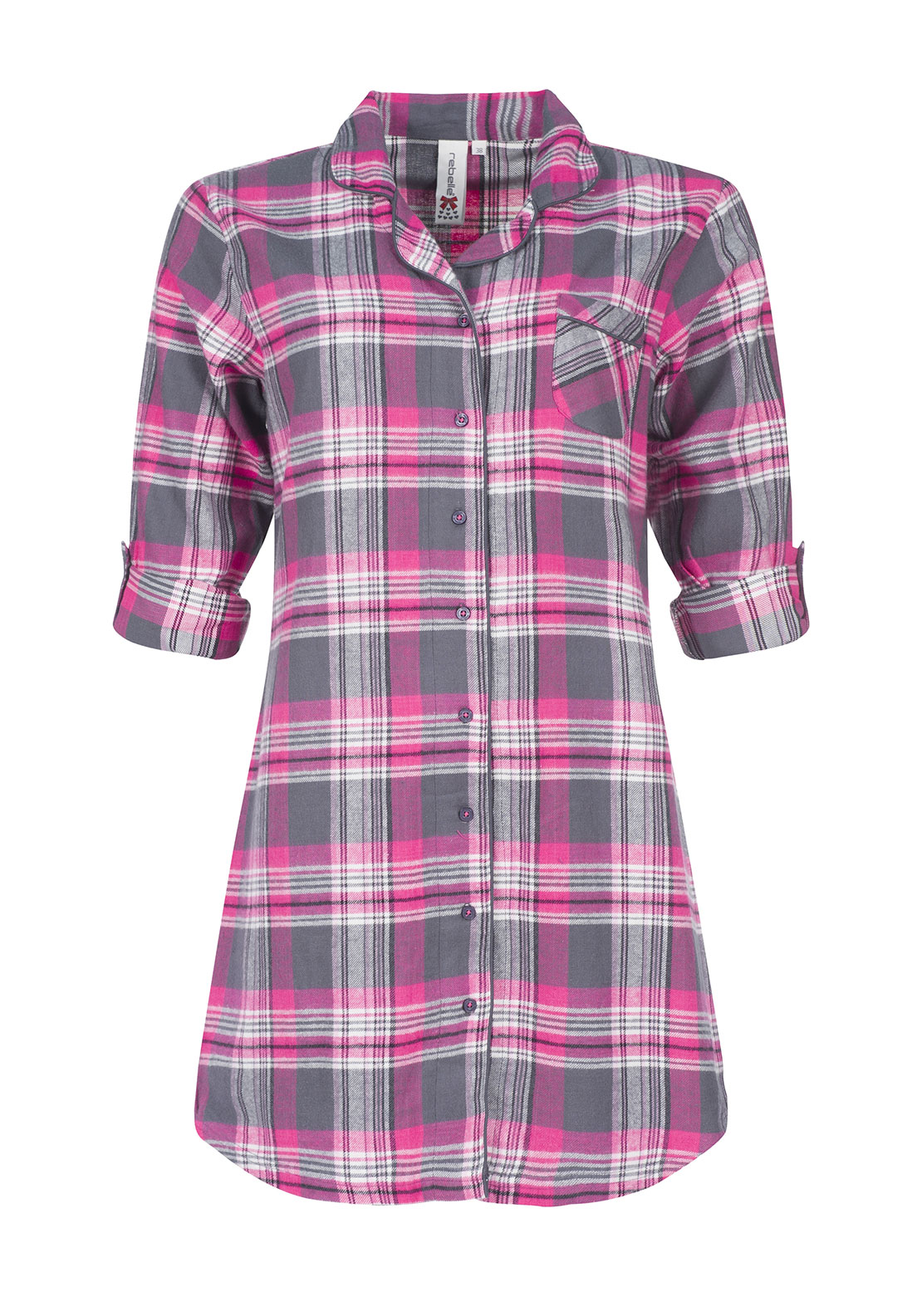 Rebelle Checked Brushed Cotton Nightdress, Grey and Pink