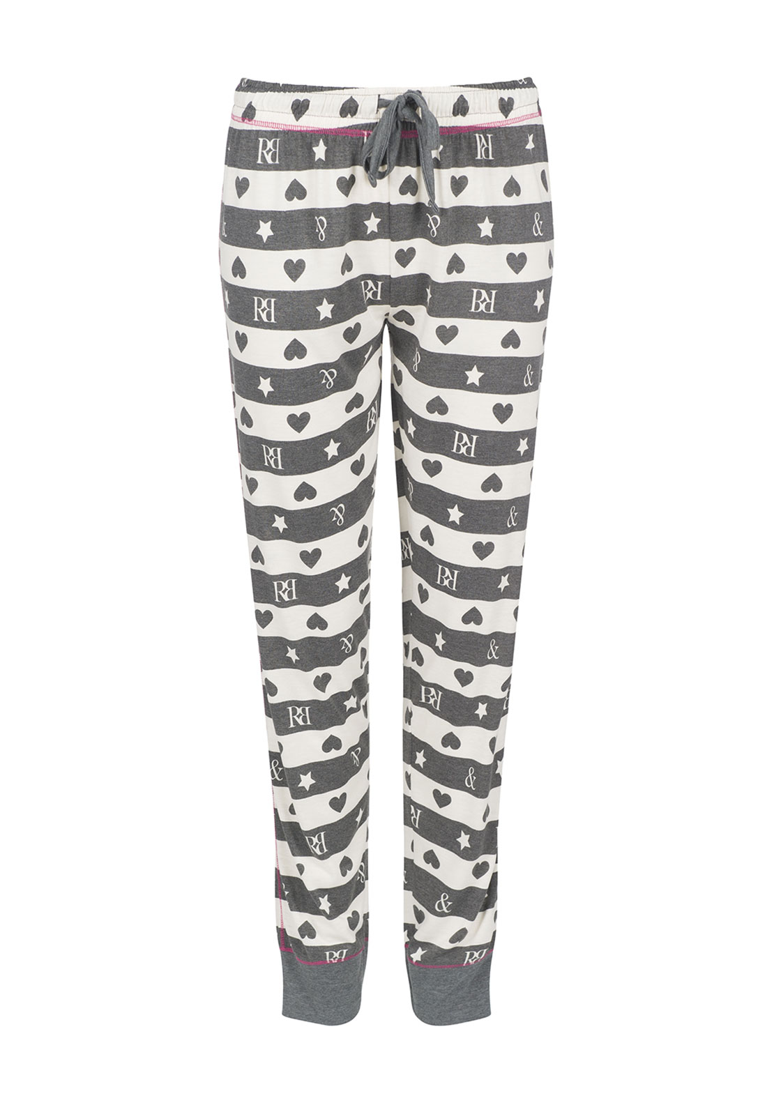 Rebelle Striped Logo Print Pyjama Bottoms, Grey