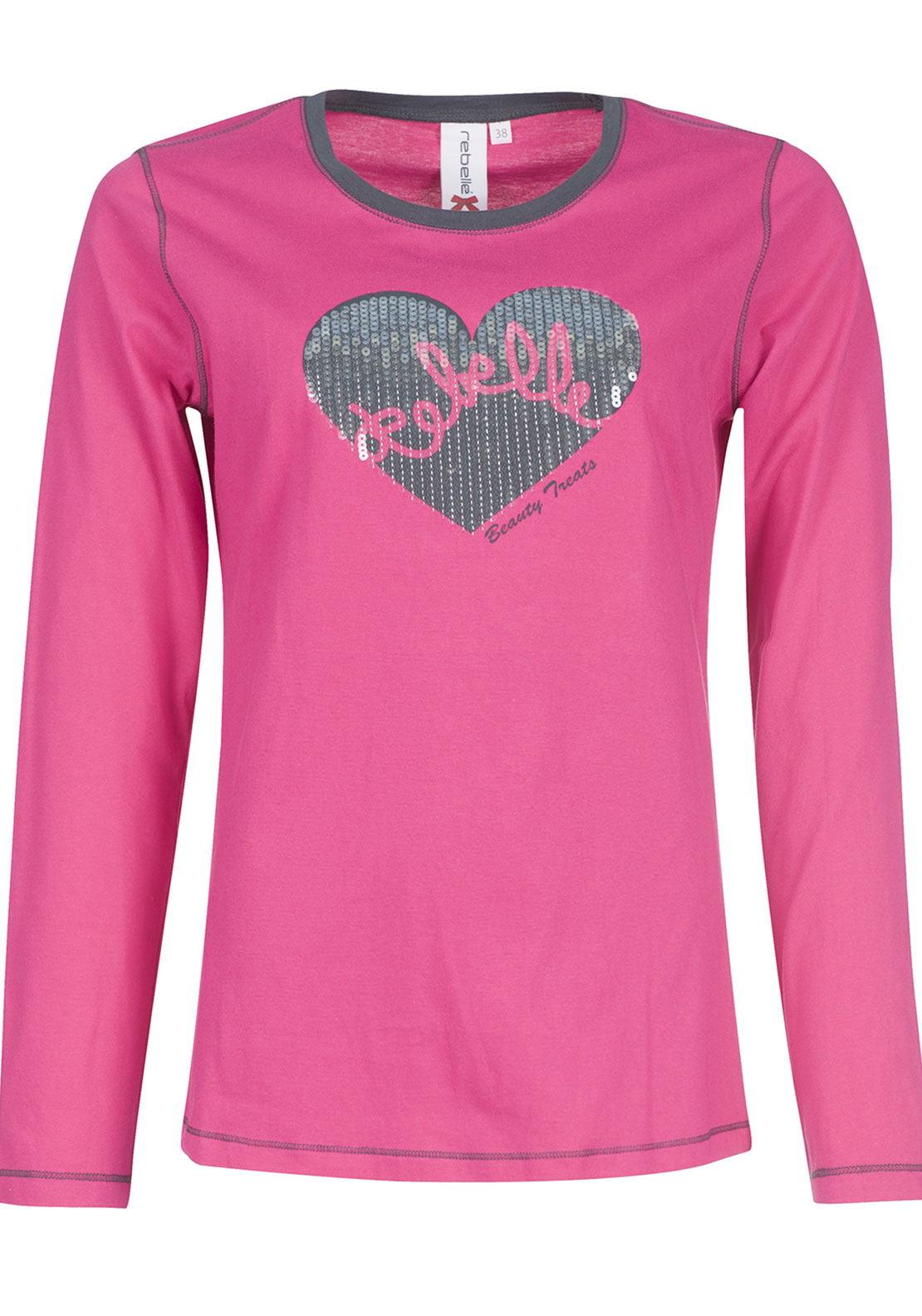 Rebelle Sequin Heart Print Pyjama Top, Pink