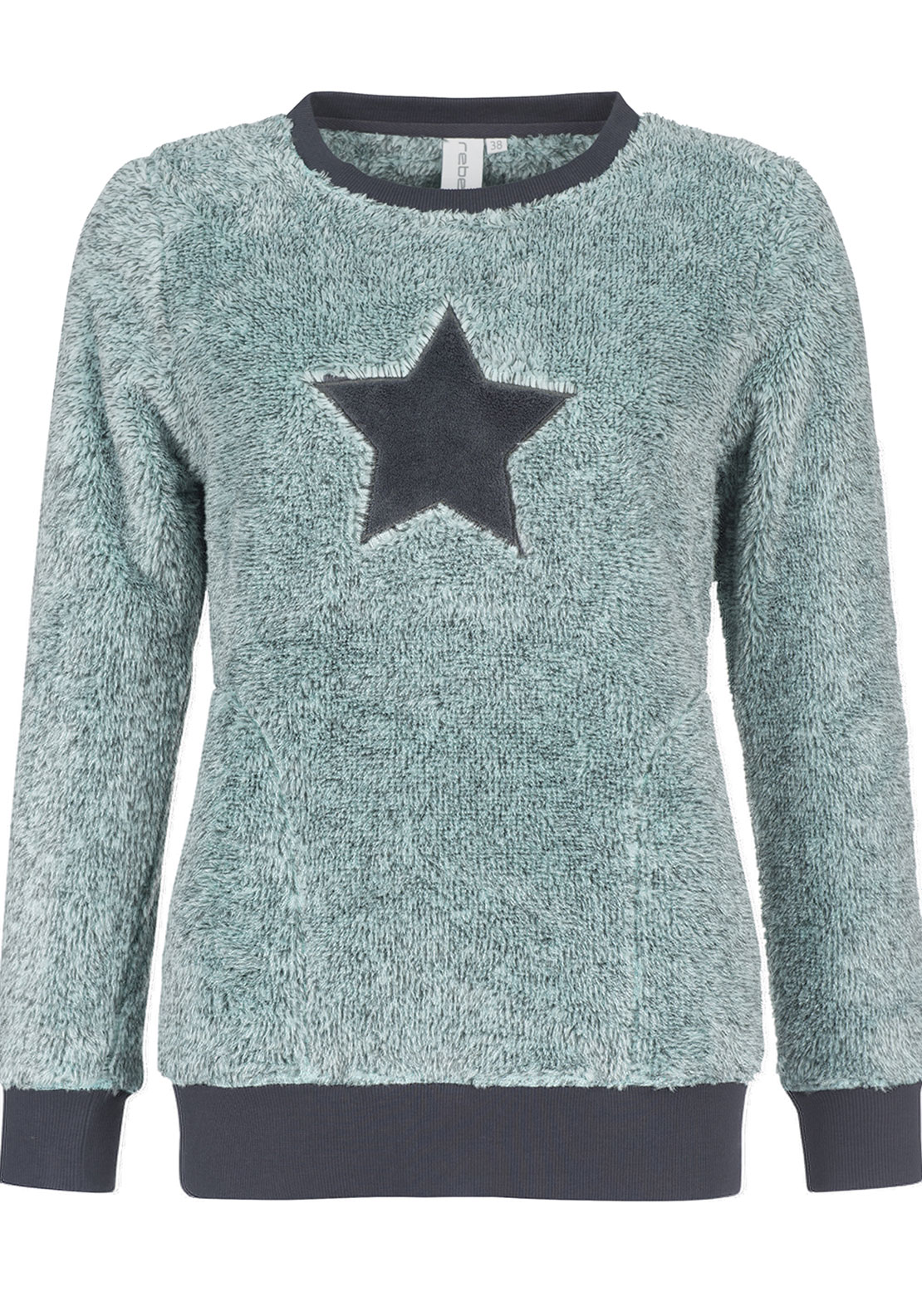 Rebelle Star Print Fleece Pyjama Top, Mint Green