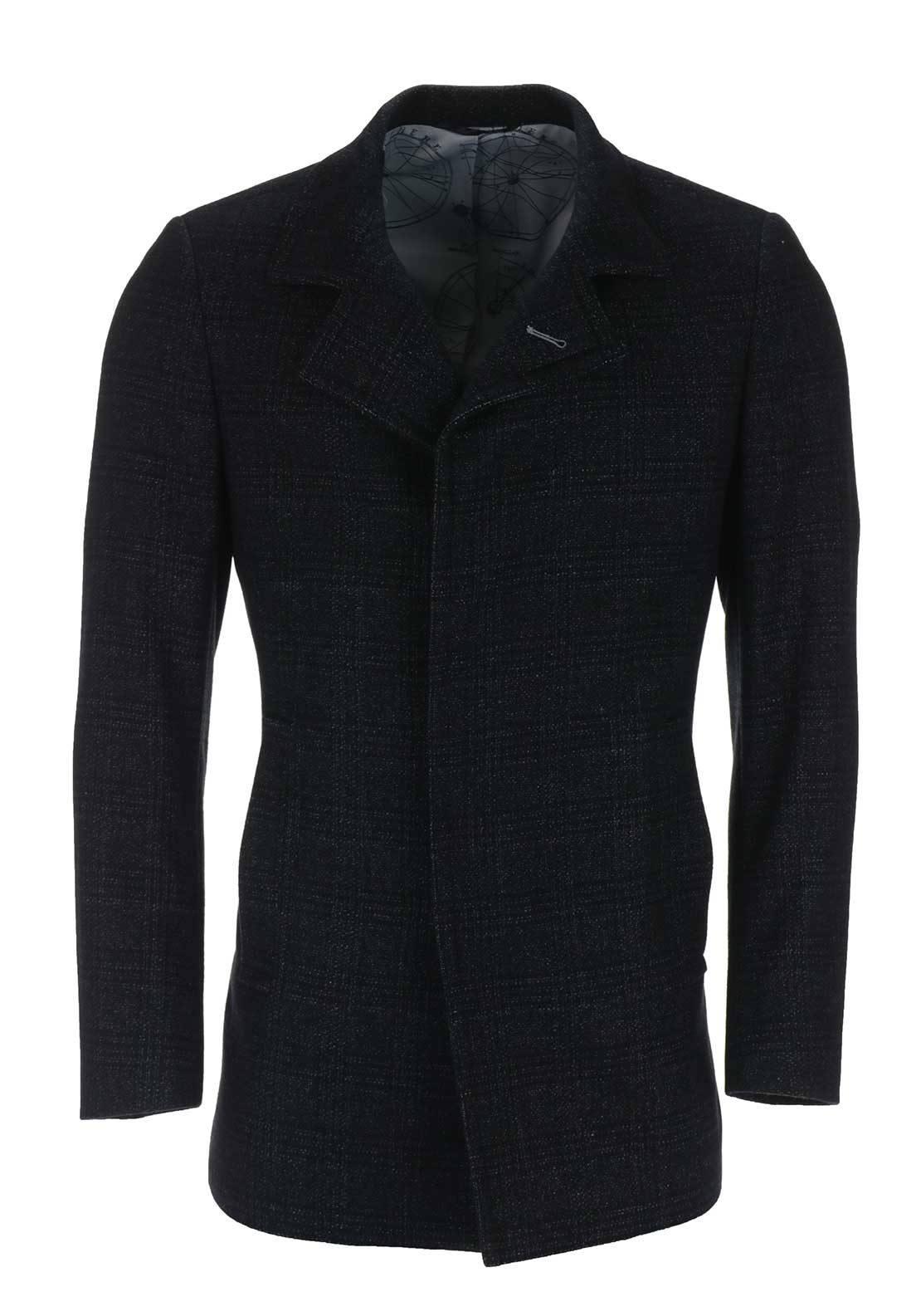Remus Uomo Mens Checked Wool Overcoat, Charcoal