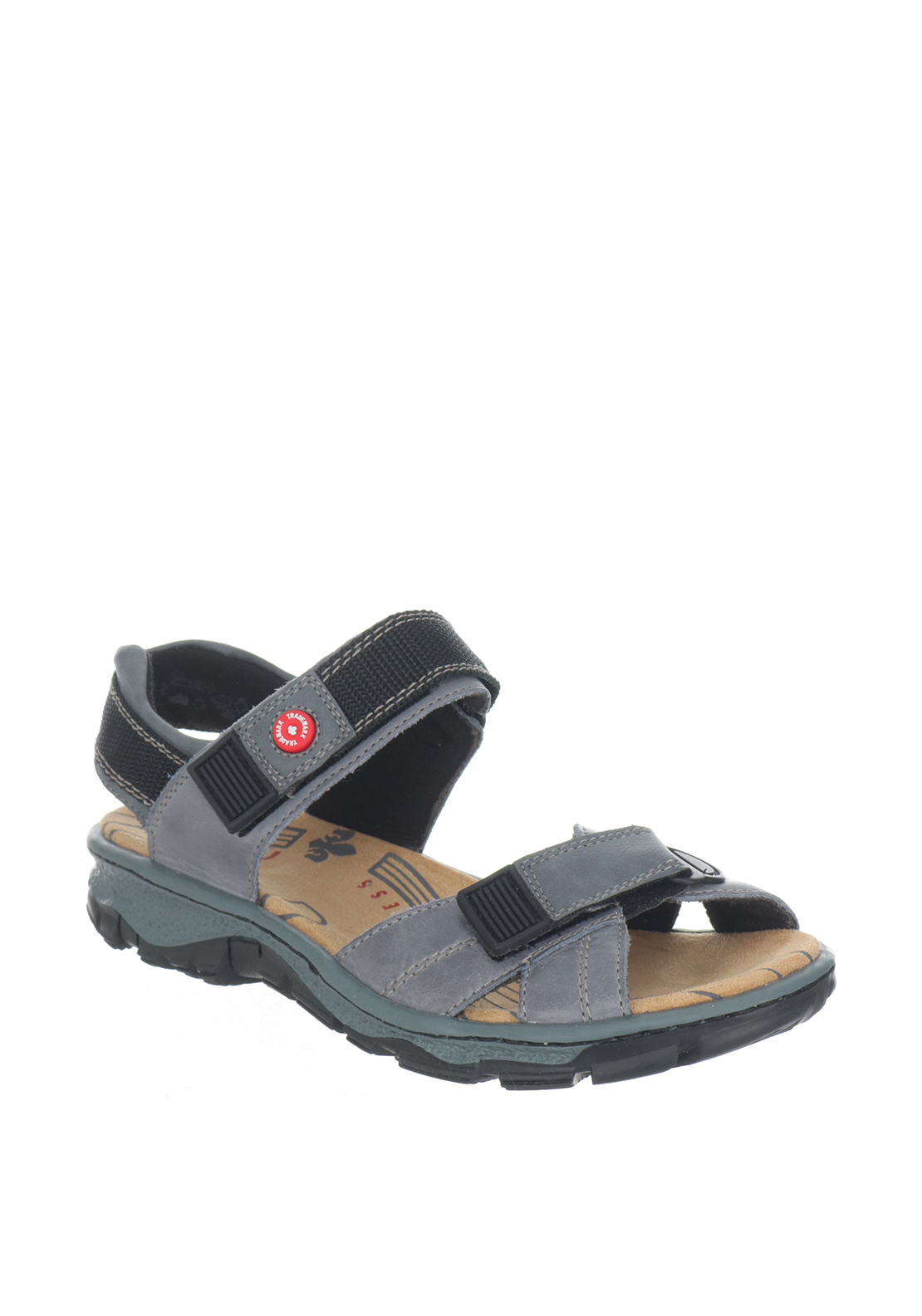 Rieker Womens Leather Velcro Strap Sandals, Denim Blue