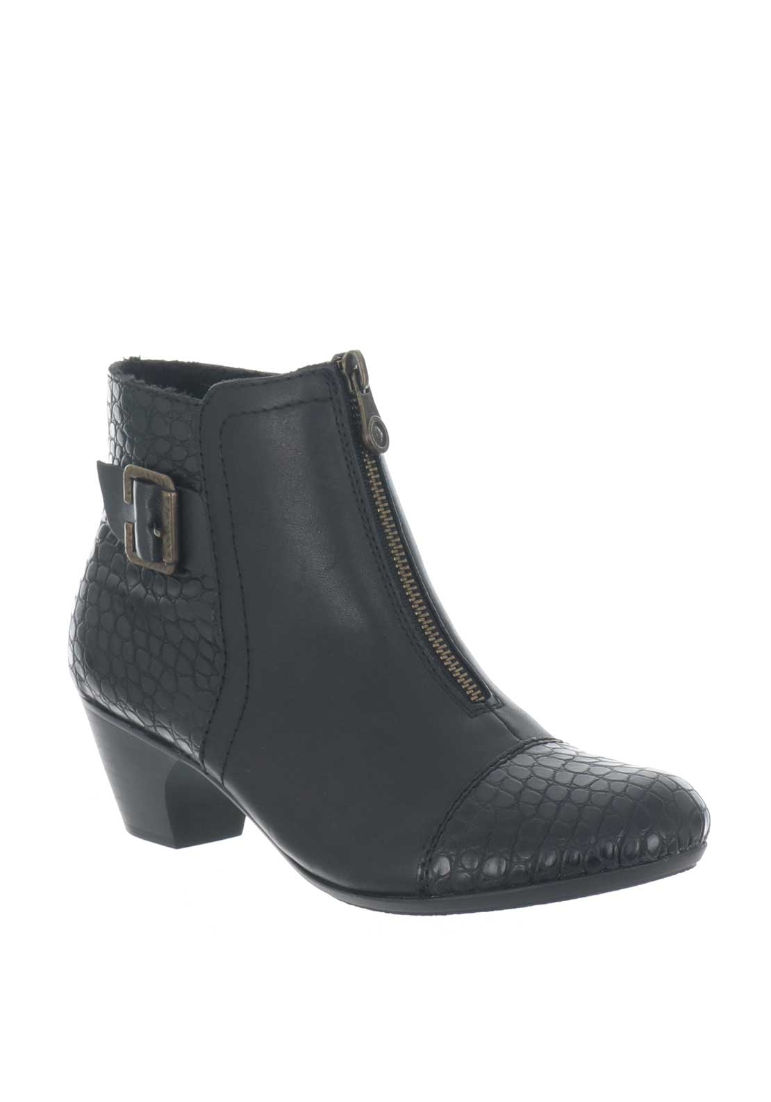 Rieker Womens Leather Reptile Zip Boots, Black