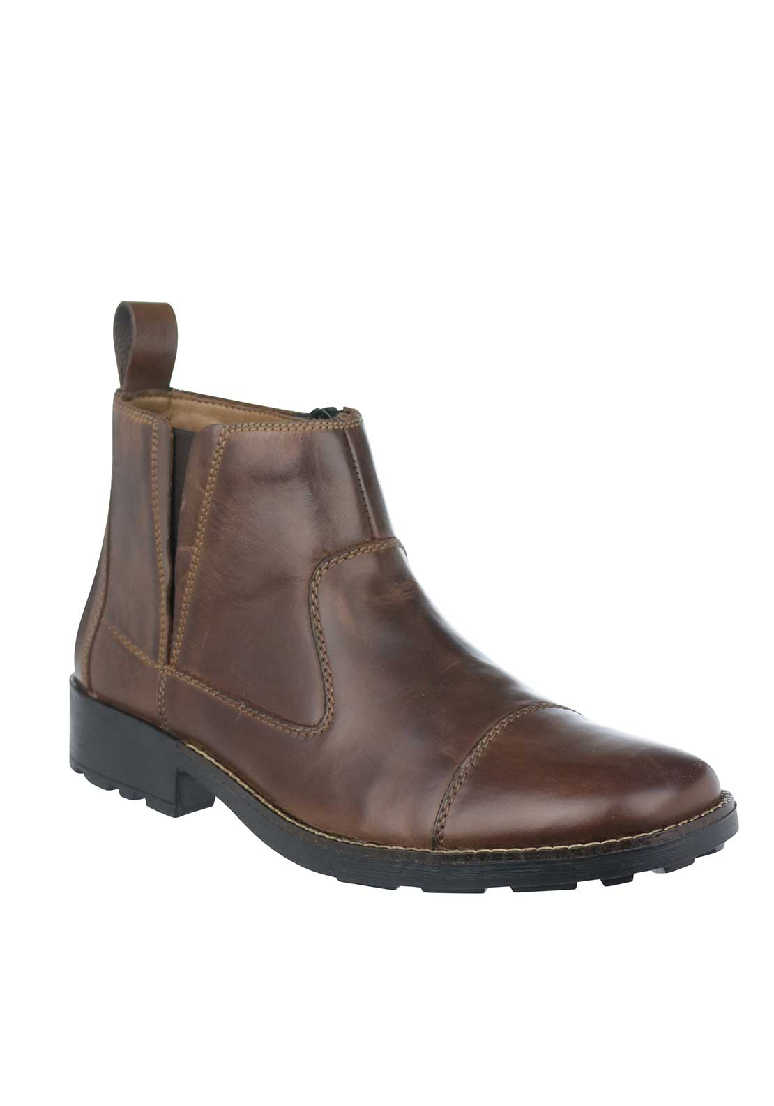Rieker Mens Leather Chelsea Zip-Up Ankle Boot, Brown