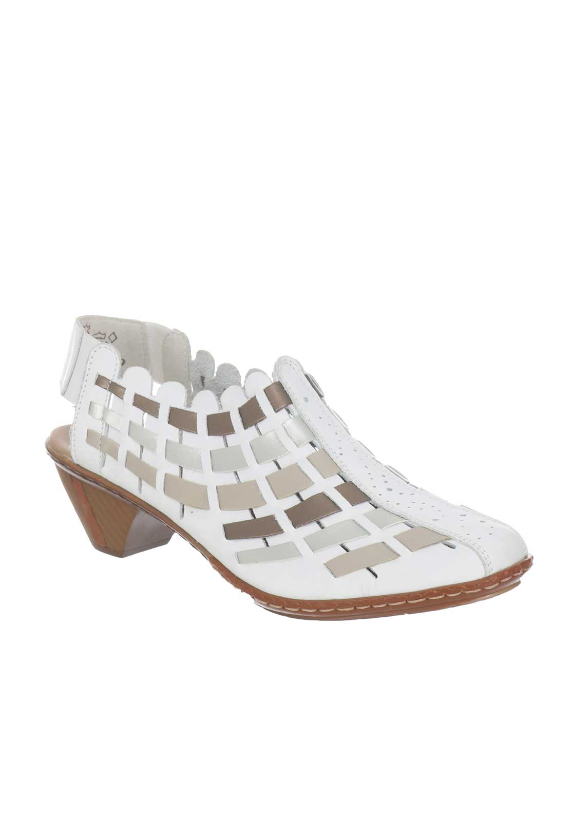 Rieker Womens Woven Leather Shoes, White