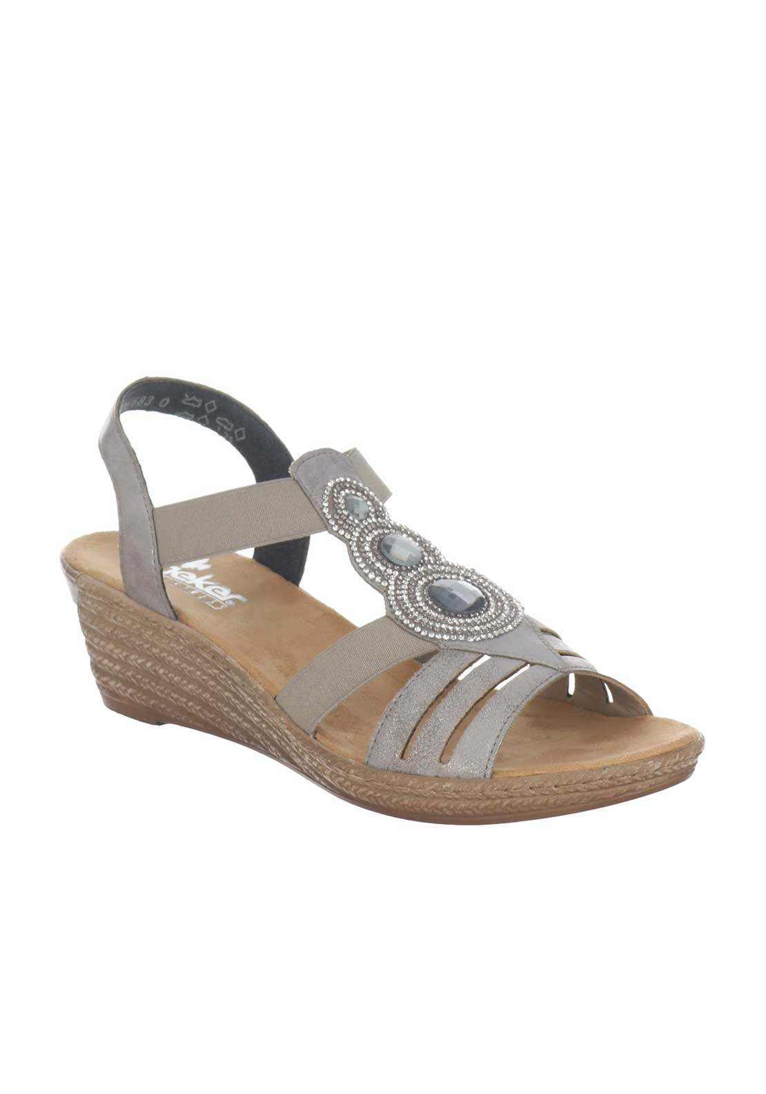 Rieker Womens Diamante Embellished Wedged Sandals, Silver