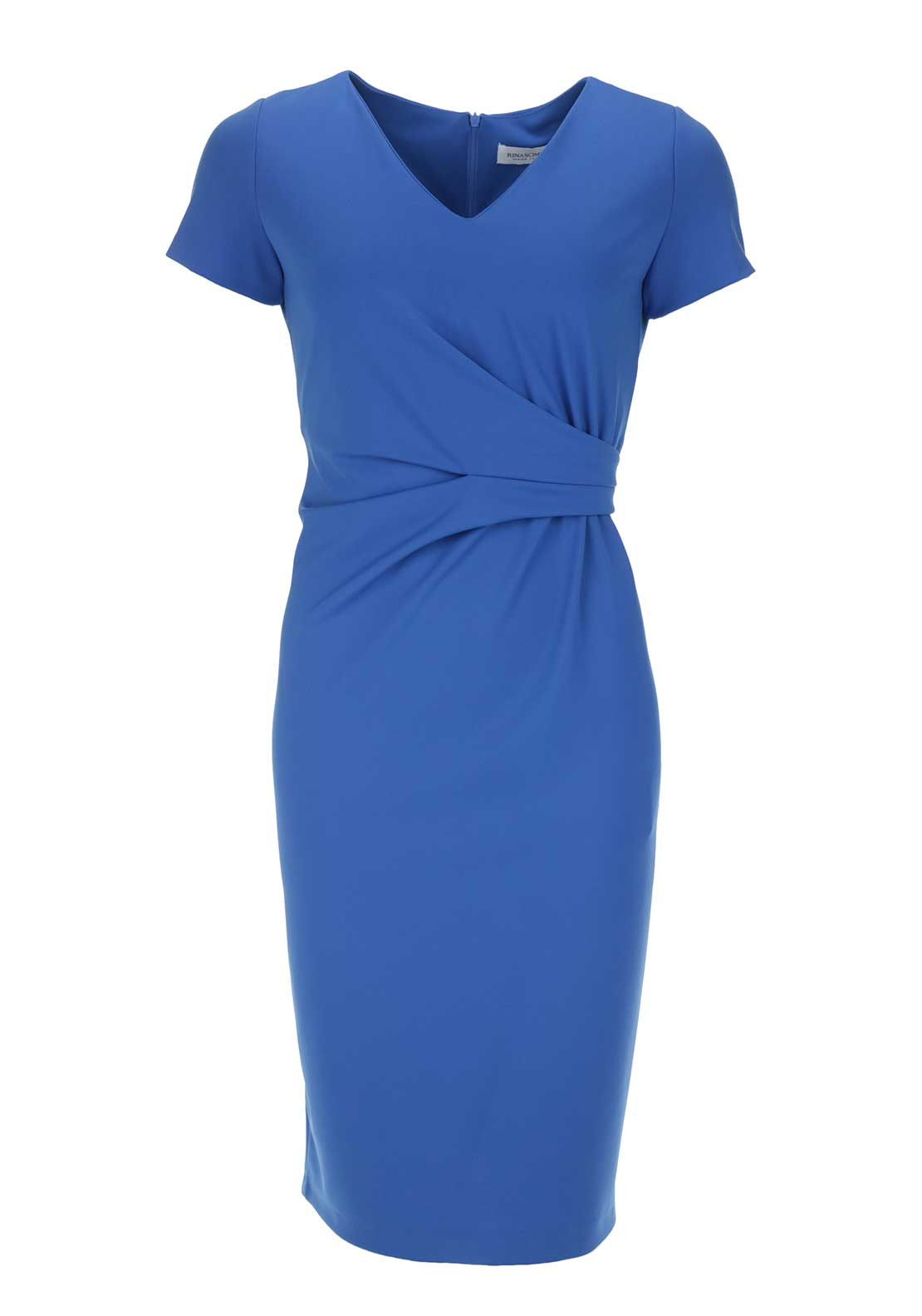Rinascimento Ruched V-Neck Bodycon Dress, Blue