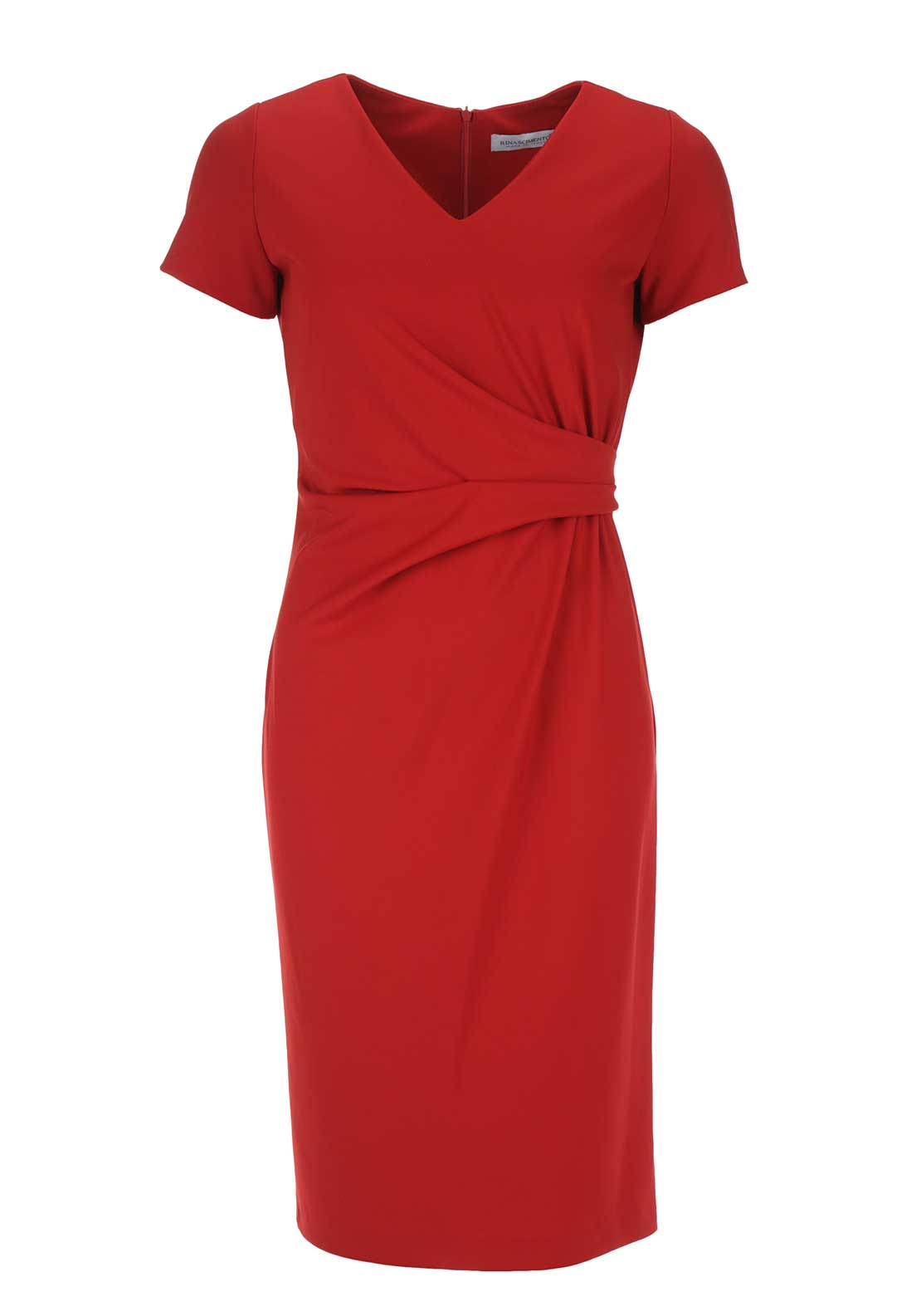Rinascimento Ruched V-Neck Bodycon Dress, Red
