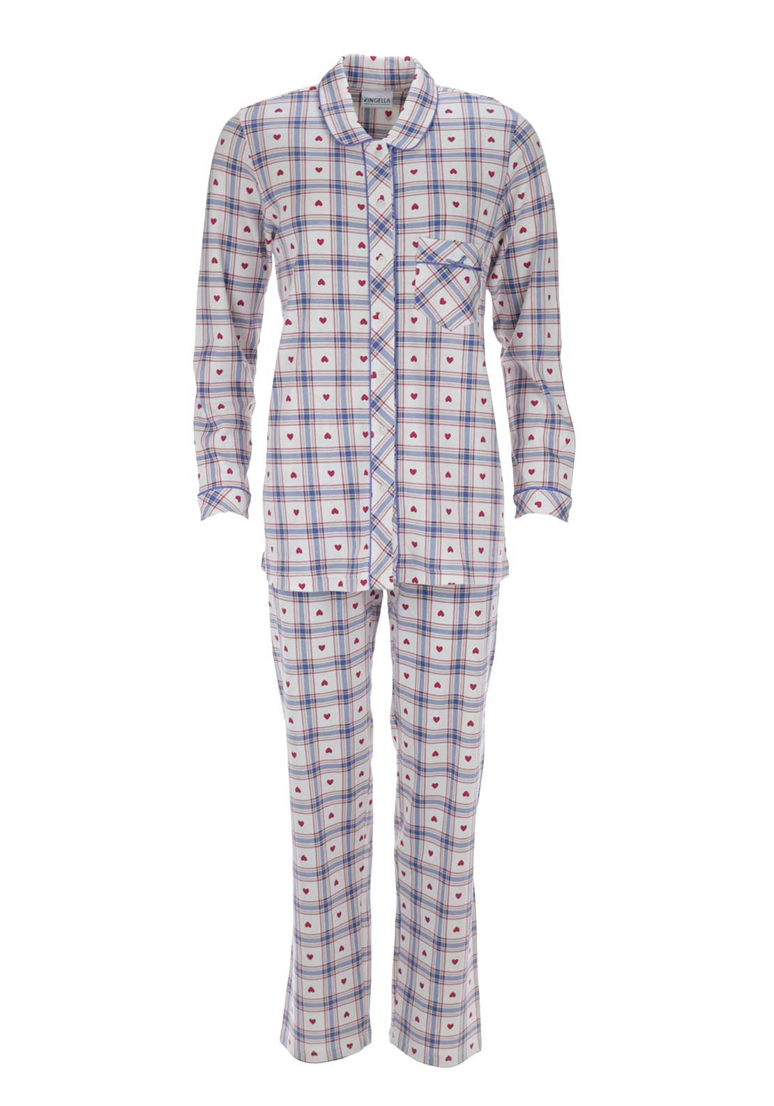 Ringella Cotton Checked Pyjama Set, White Multi