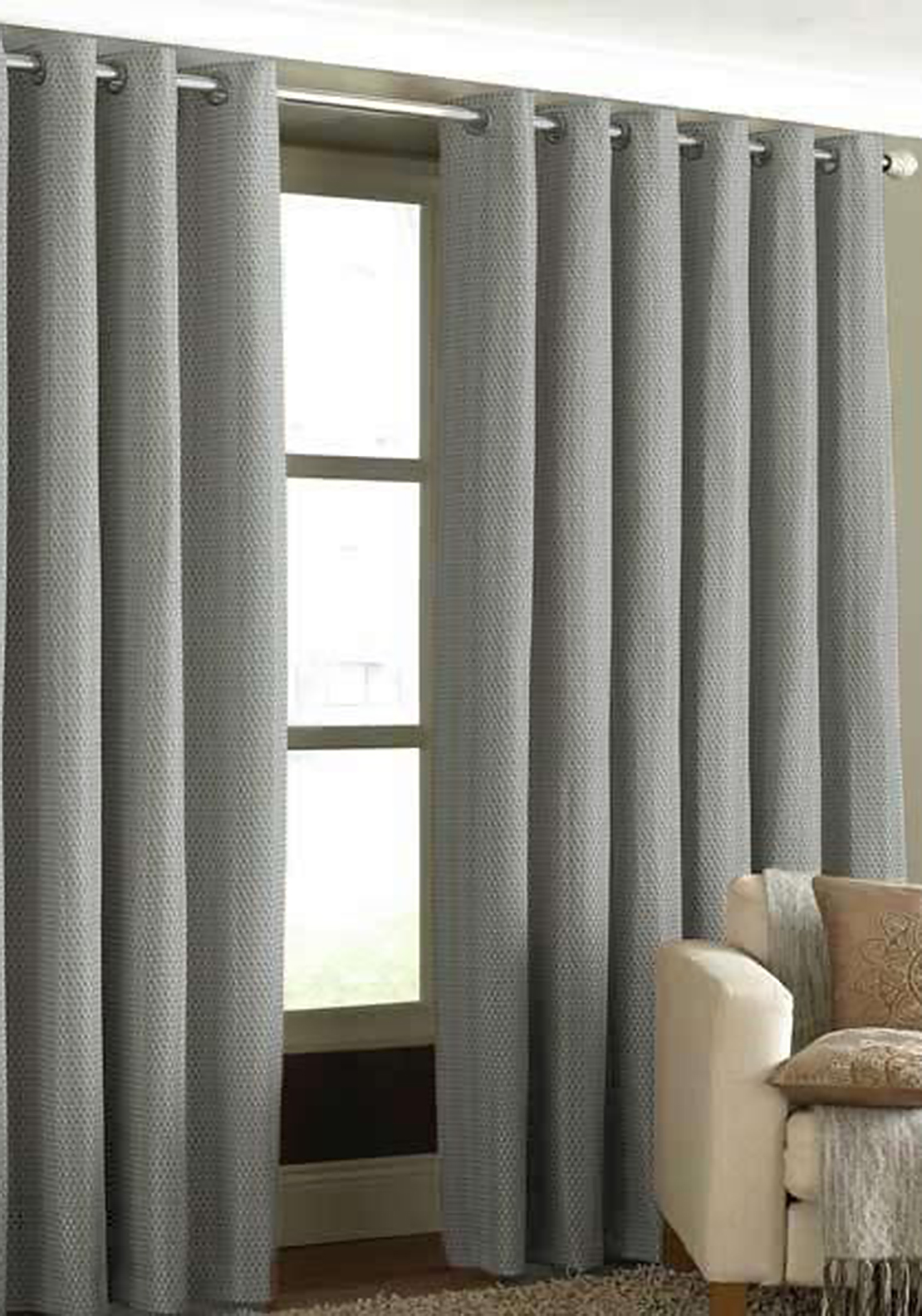 "Riva Tobago Fully Lined Eyelet Curtains 90""x90"", Silver"