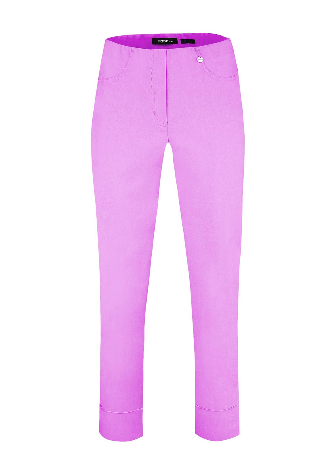Robell Bella 09 Turn Up Ankle Grazer Trousers, Wild Rose Pink