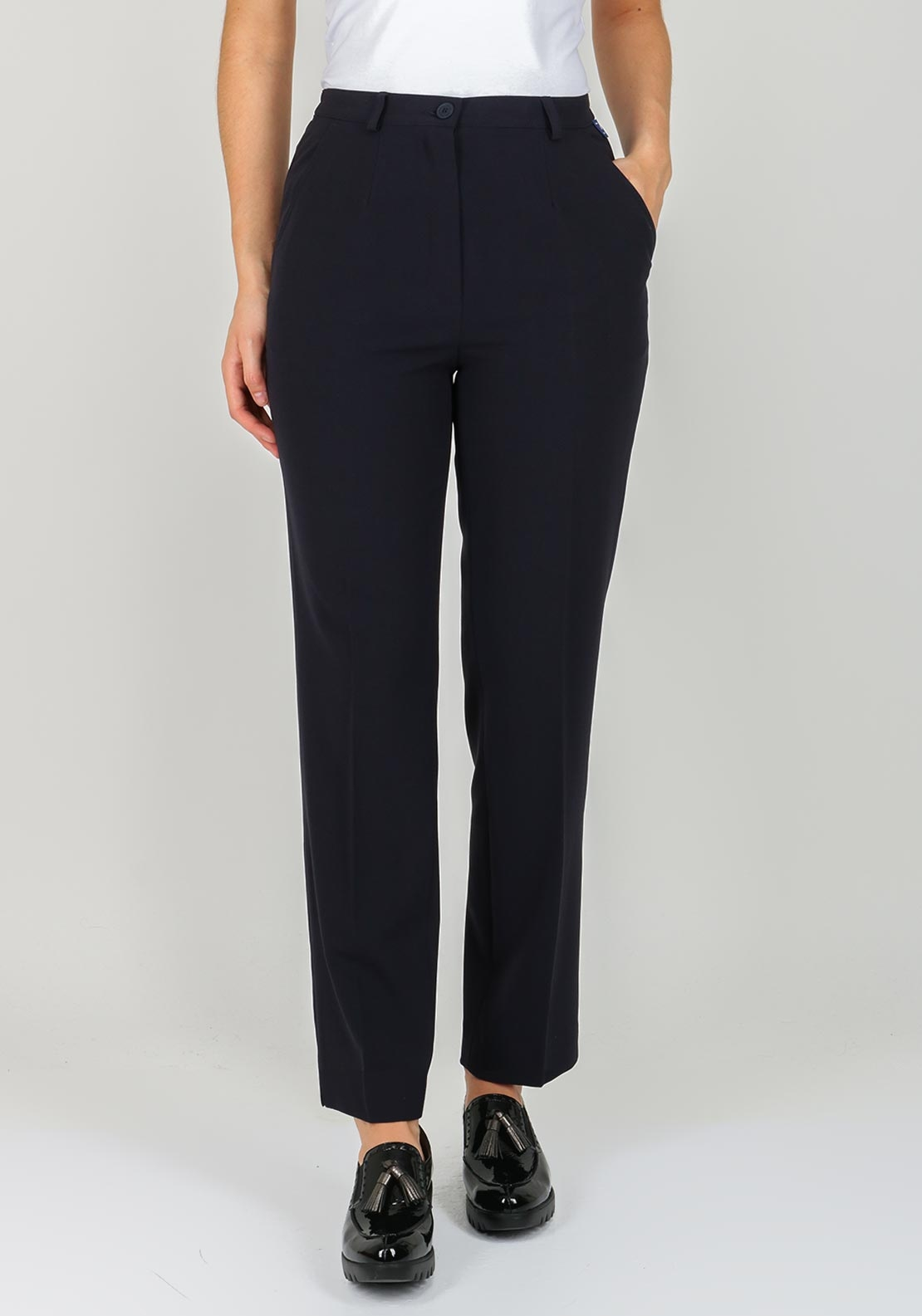 Robell Pia Comfort Fit Straight Leg Trousers, Navy