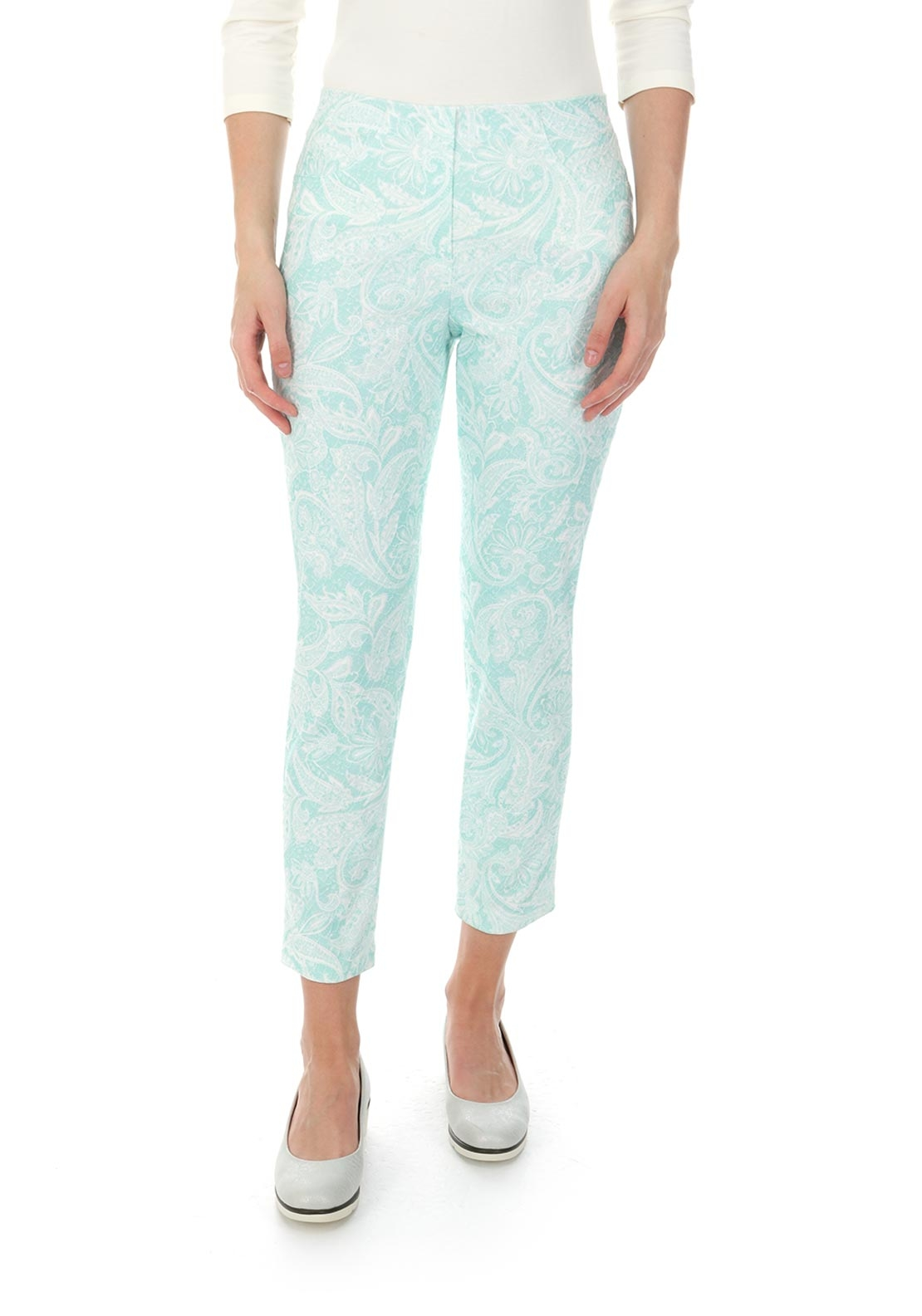 Robell Bella 09 Paisley Print Cropped Jeggings, Green and White