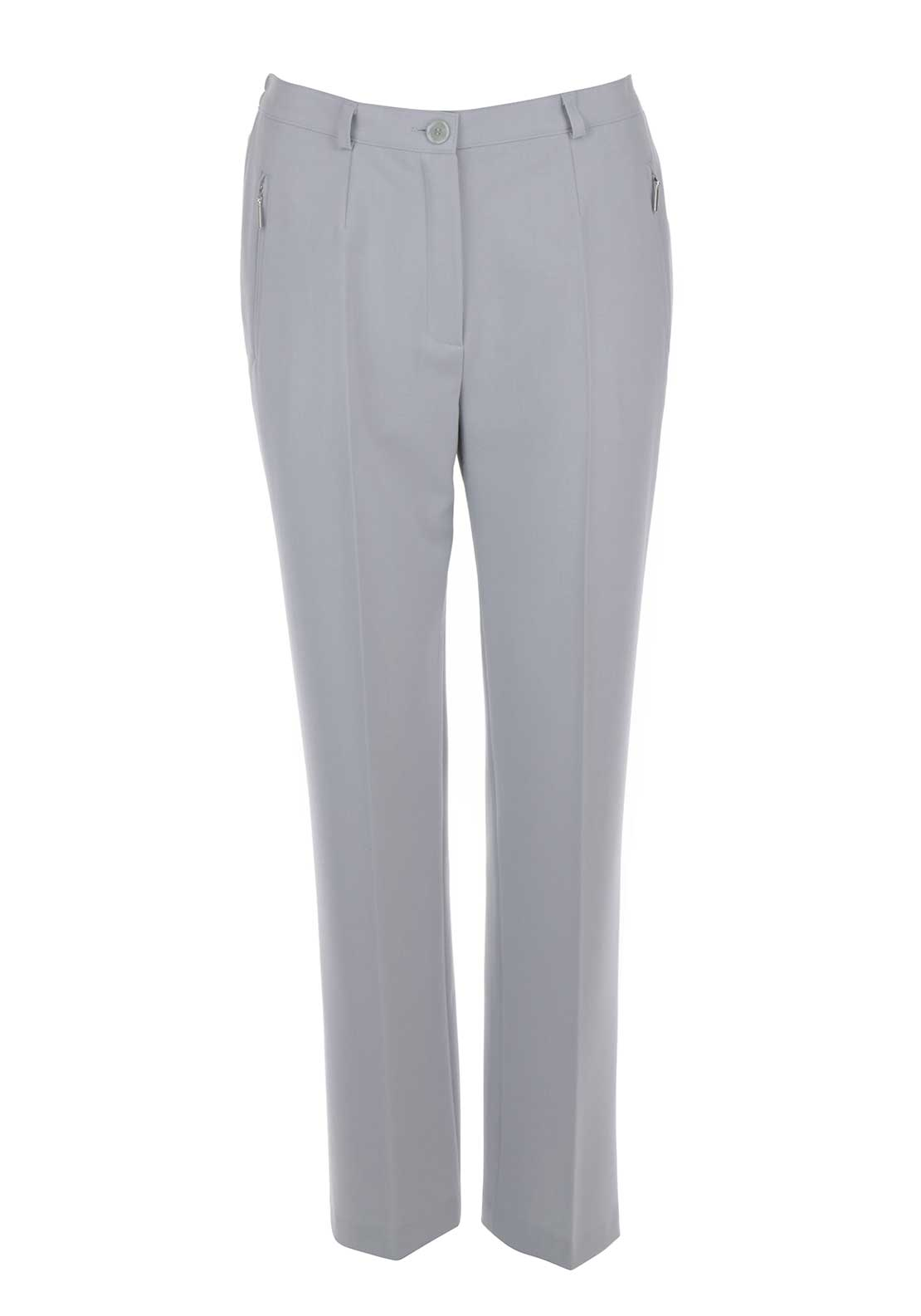 Robell Sahra Comfort Fit Straight Leg Trousers, Pale Grey