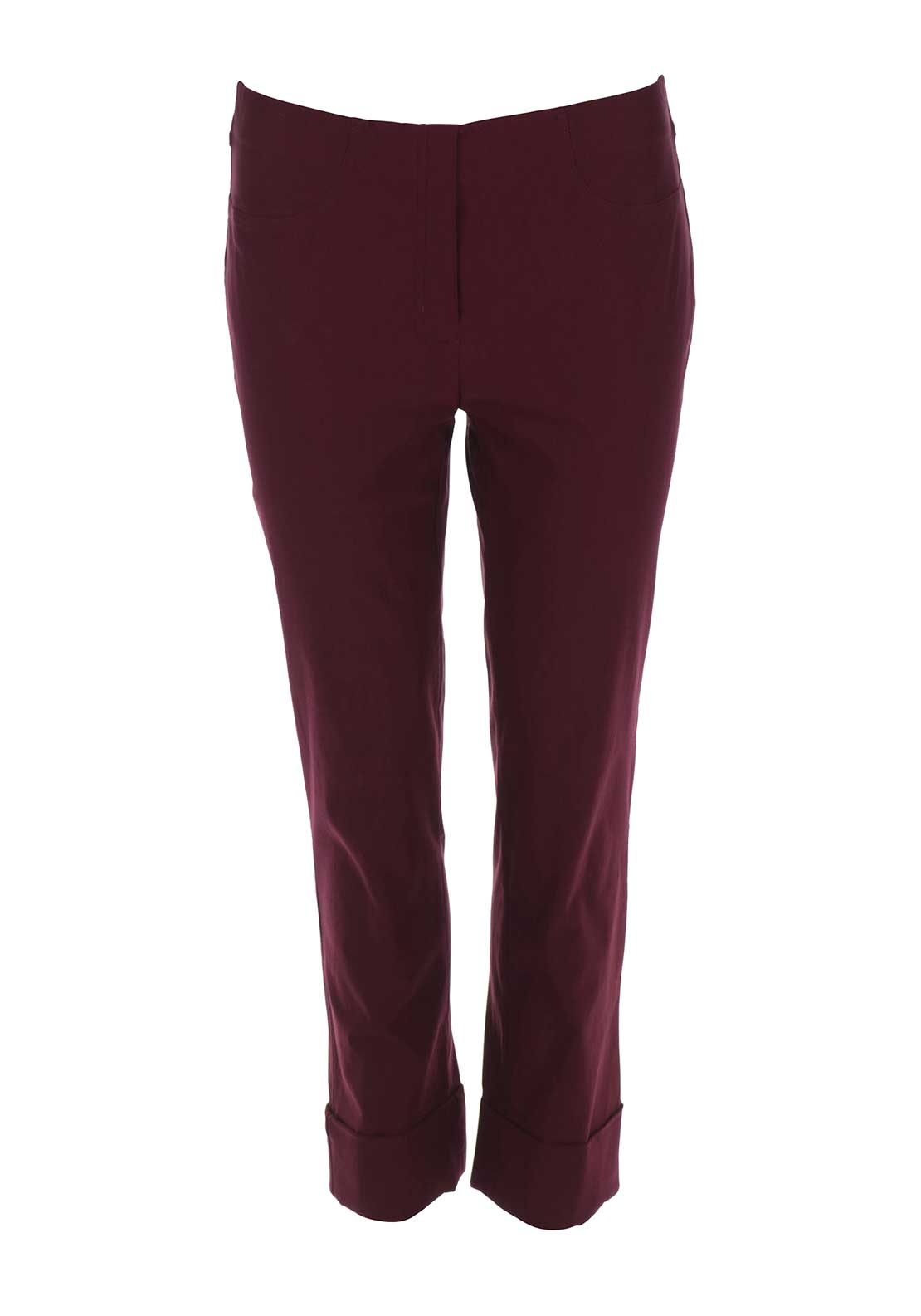 Robell Bella 09 Turn Up Cropped Trousers, Wine