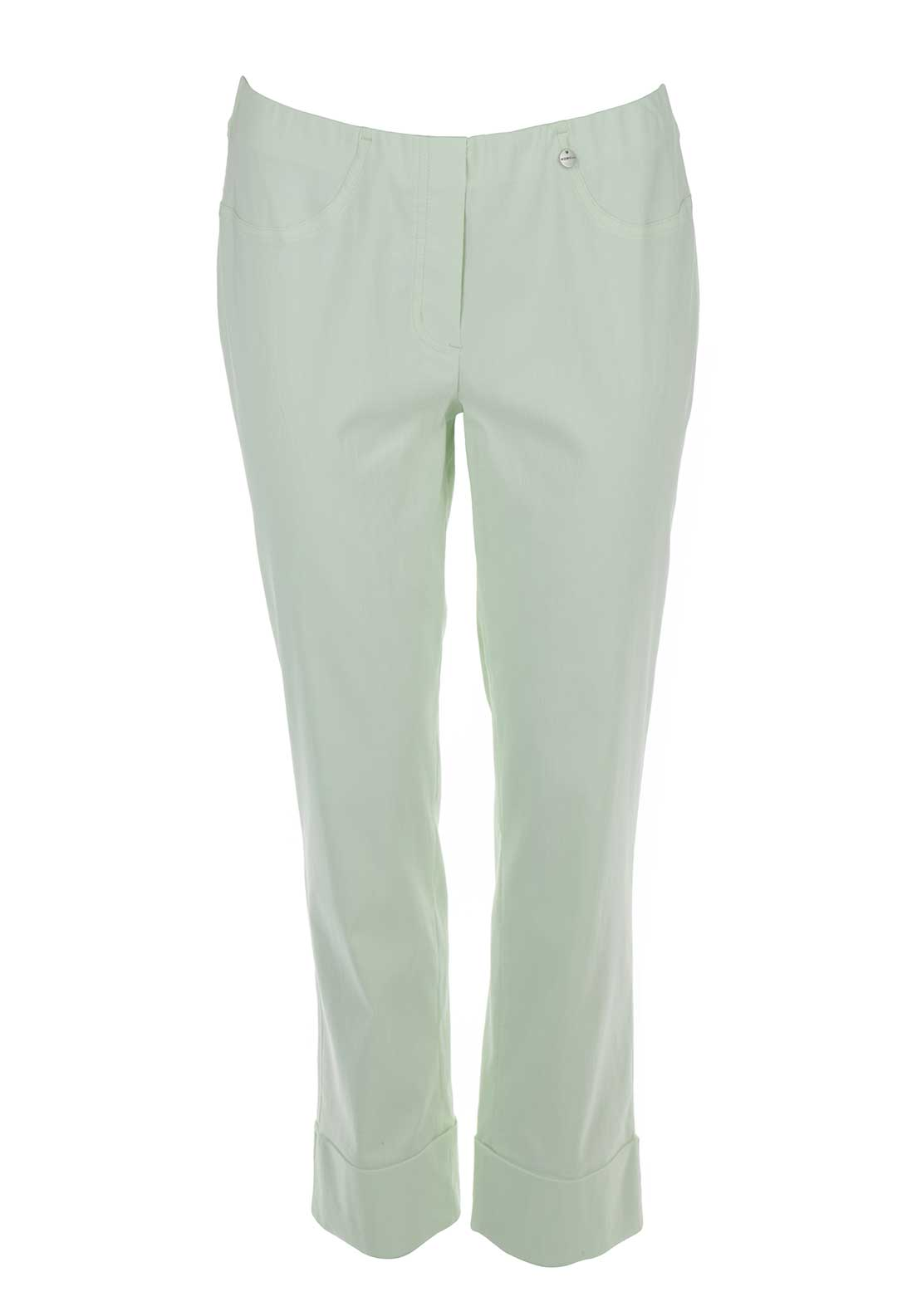 Robell Bella 09 Turn Up Cropped Trousers, Soft Green