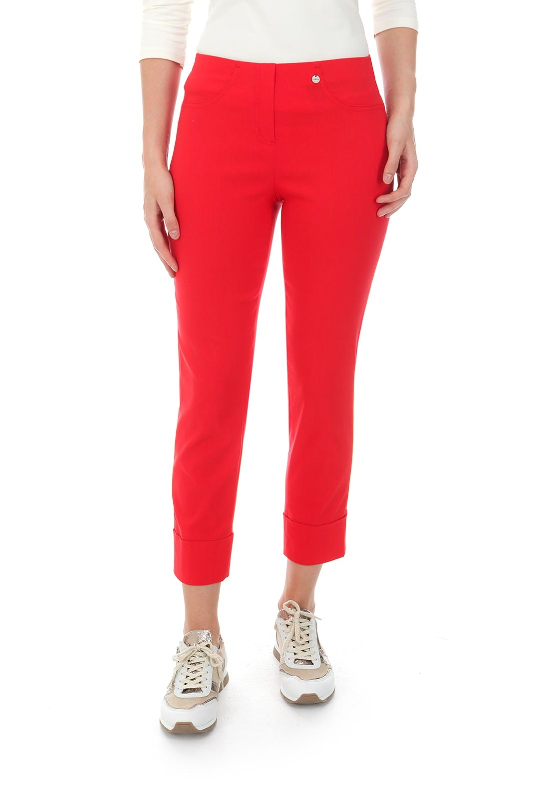Robell Bella 09 Turn Up Cropped Trousers, Red