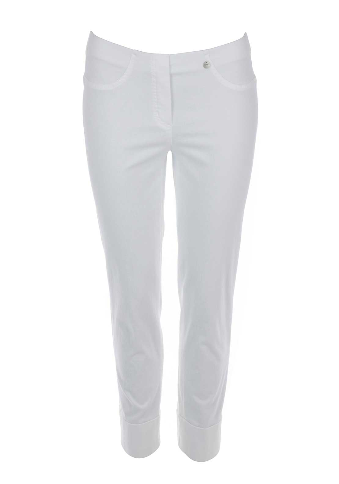 Robell Bella 09 Turn Up Cropped Jeggings, White