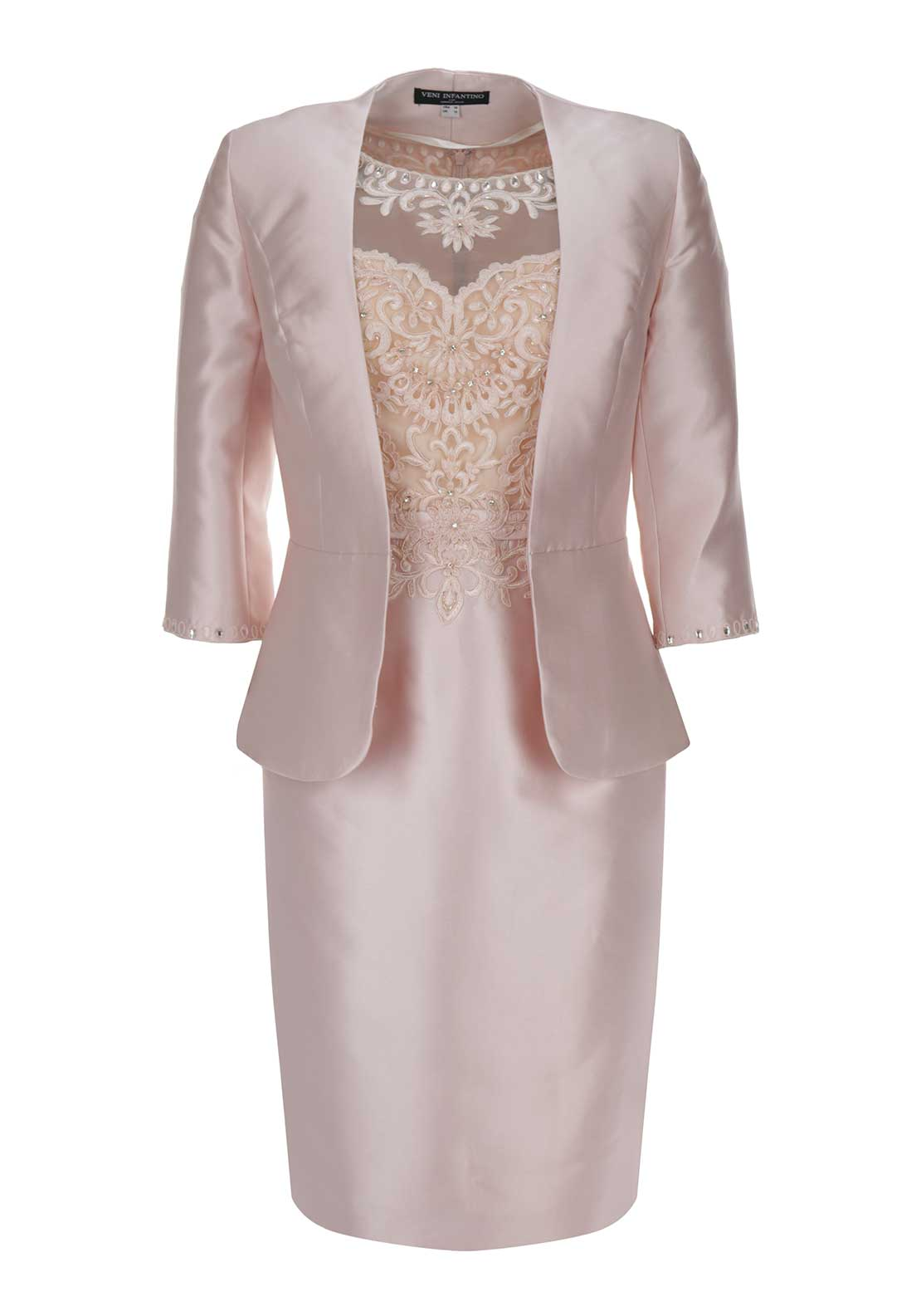Veni Infantino for Ronald Joyce Embellished Overlay Dress and Jacket Outfit, Blossom Pink
