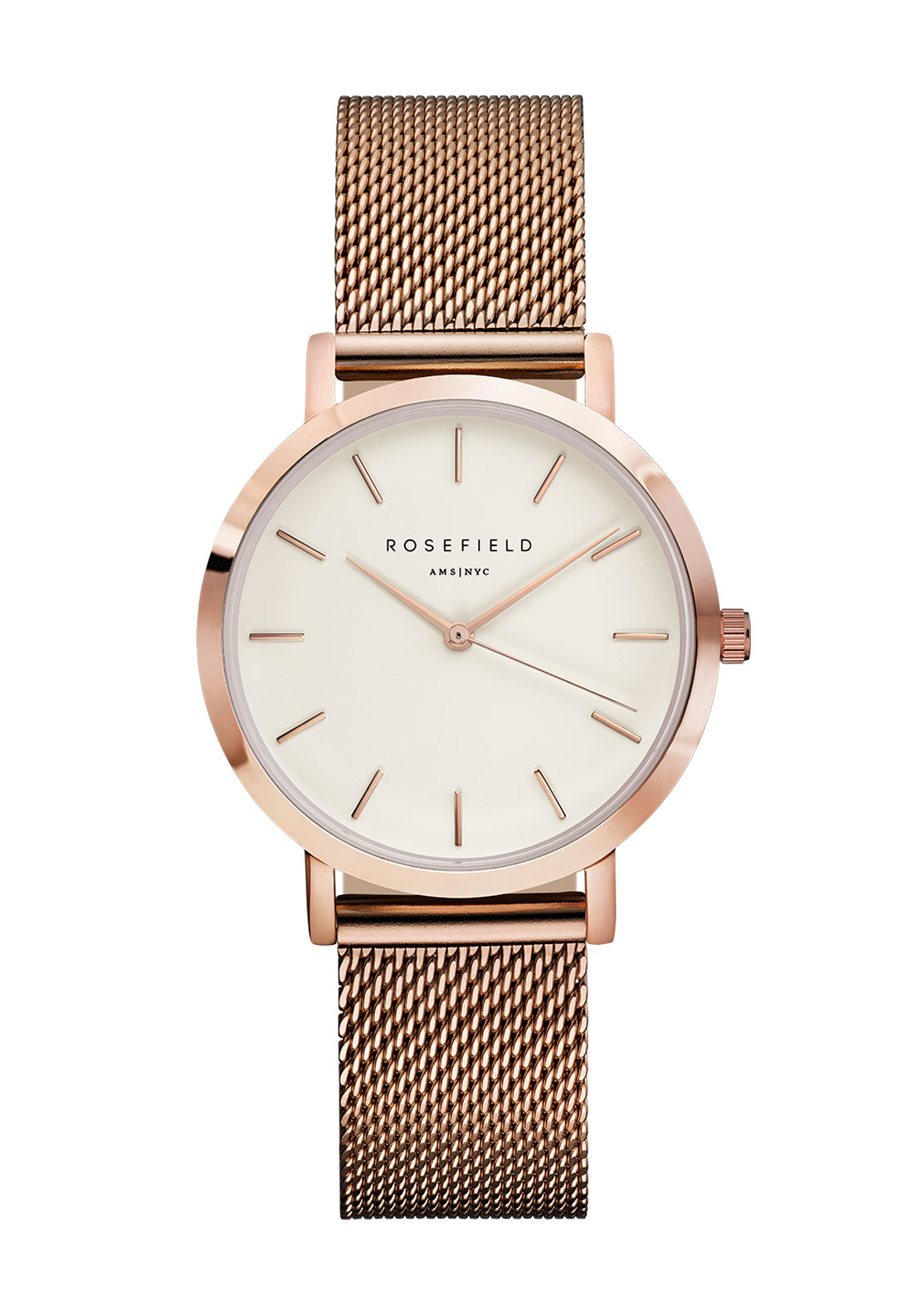 Rosefield The Tribeca Rose Gold Mesh Strap